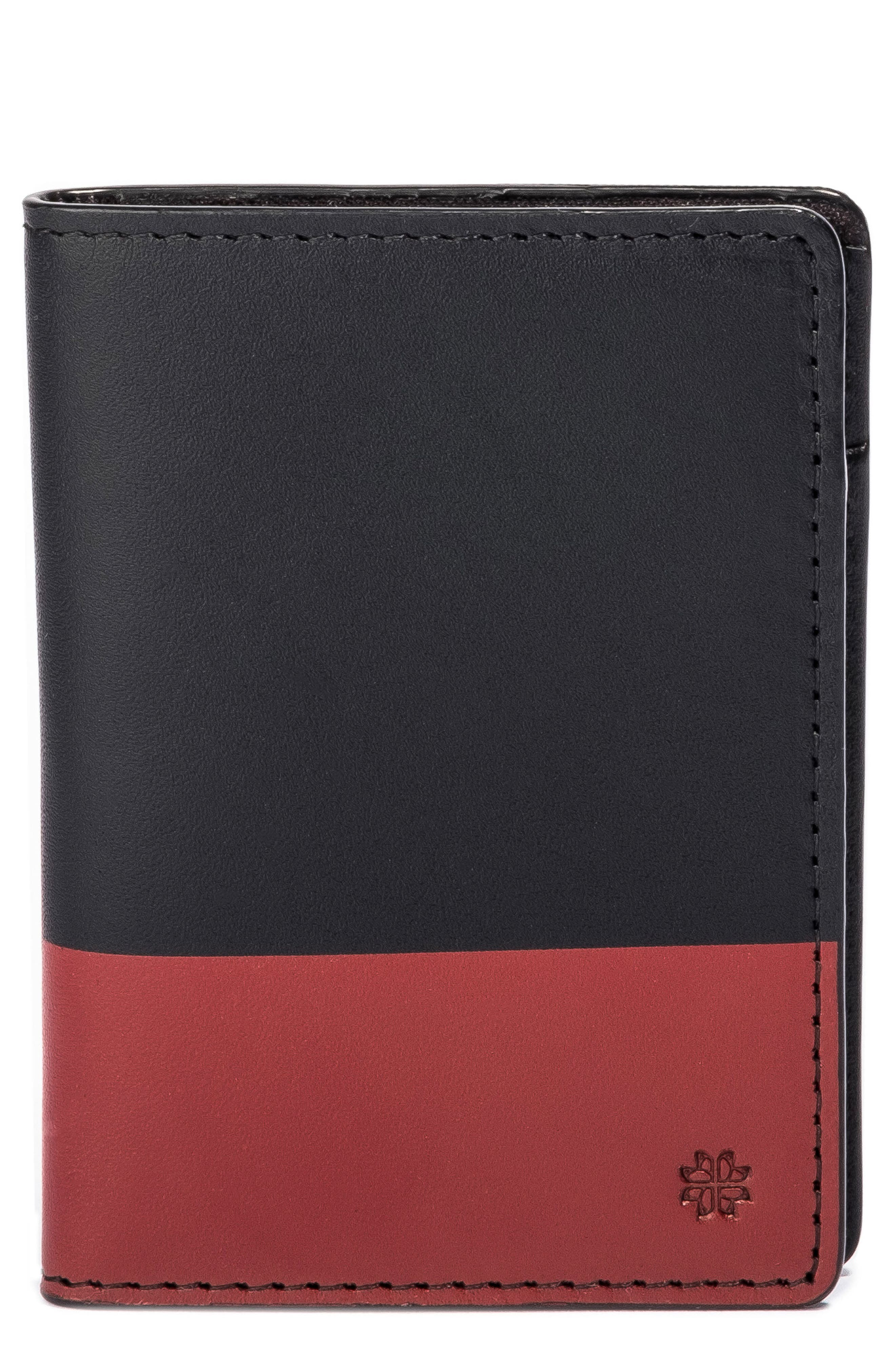 Leather Wallet,                         Main,                         color, Red