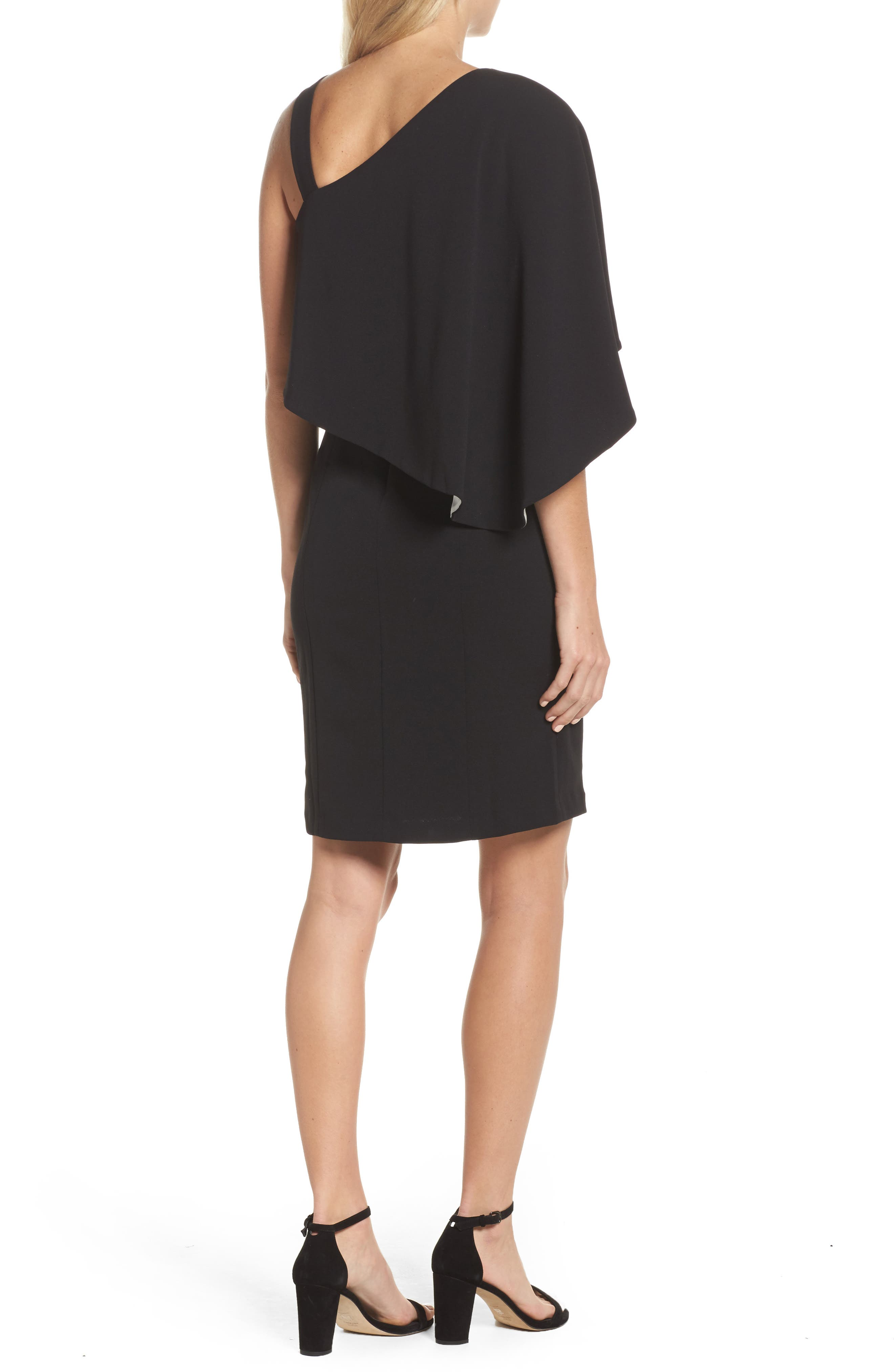 Crepe One-Shoulder Cape Dress,                             Alternate thumbnail 2, color,                             Black/ Ivory