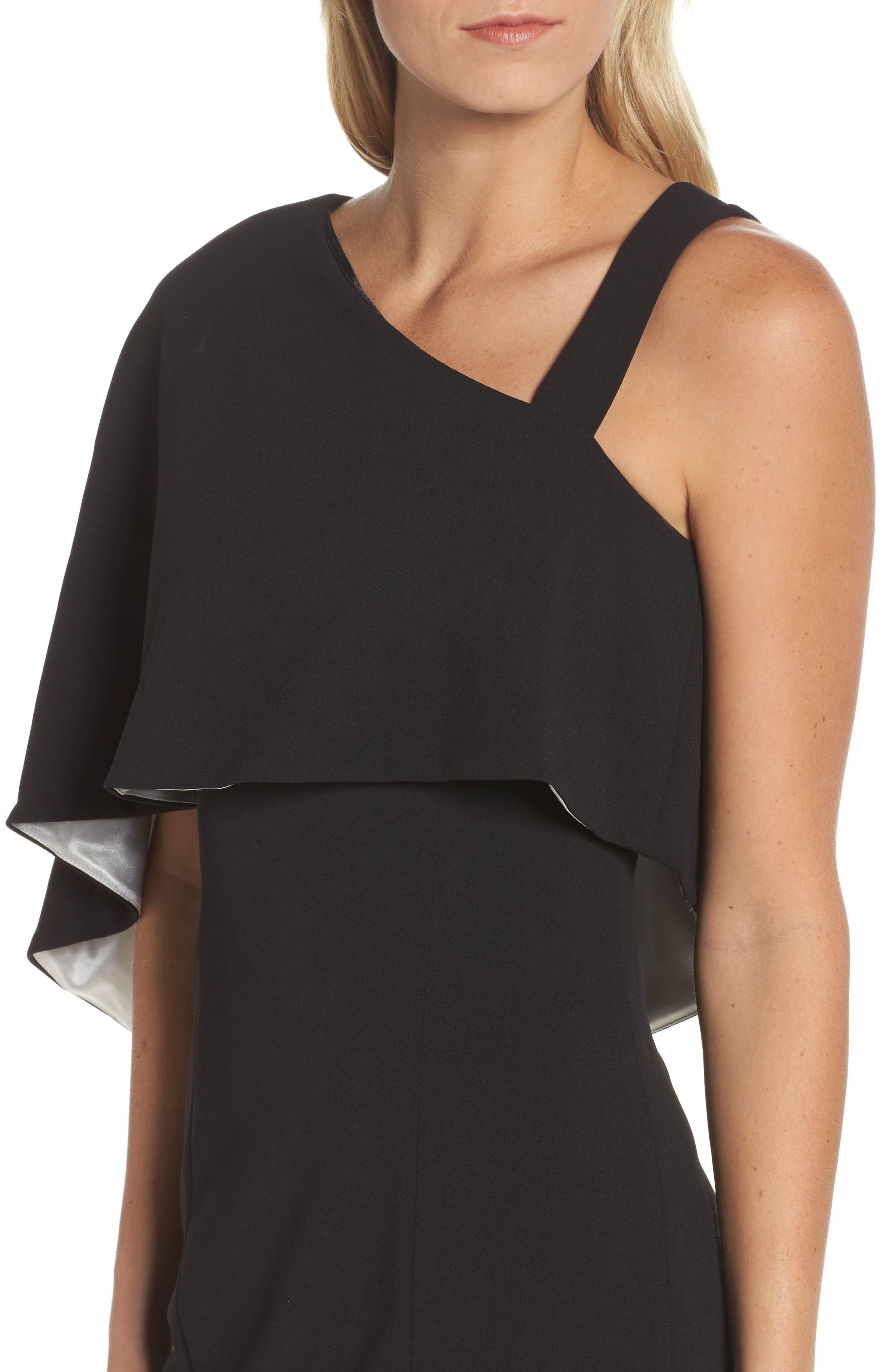 Crepe One-Shoulder Cape Dress,                             Alternate thumbnail 4, color,                             Black/ Ivory