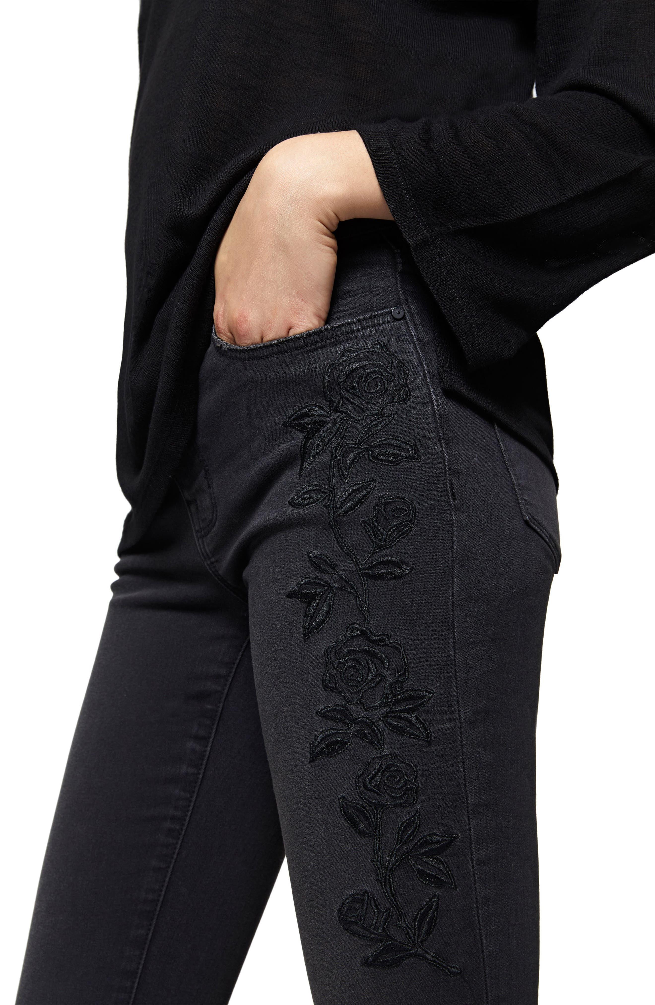 Robbie Flocked Rose Embroidered Skinny Jeans,                             Alternate thumbnail 3, color,                             Maribel
