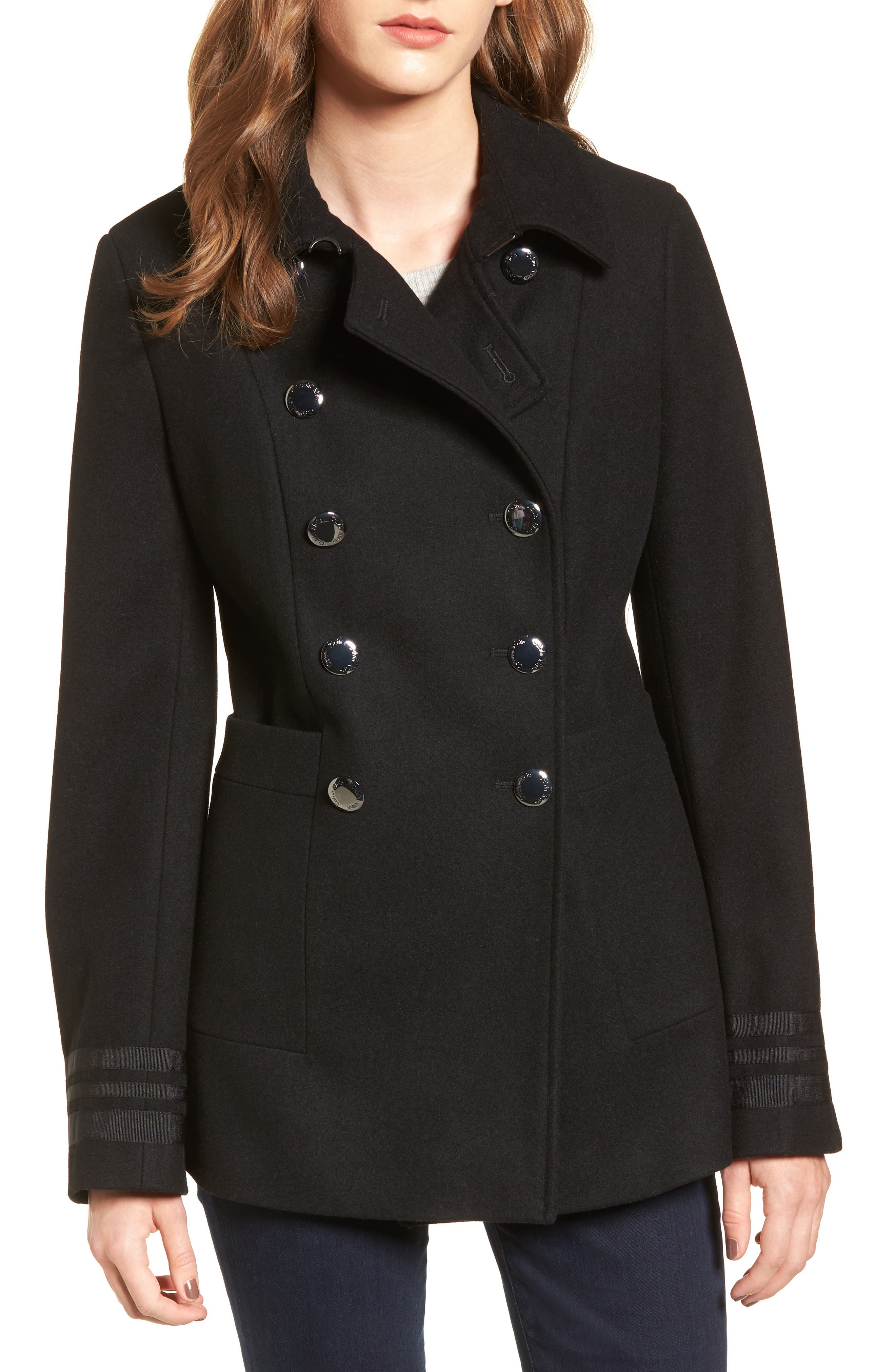 Grosgrain Double-Breasted Peacoat,                         Main,                         color, Black