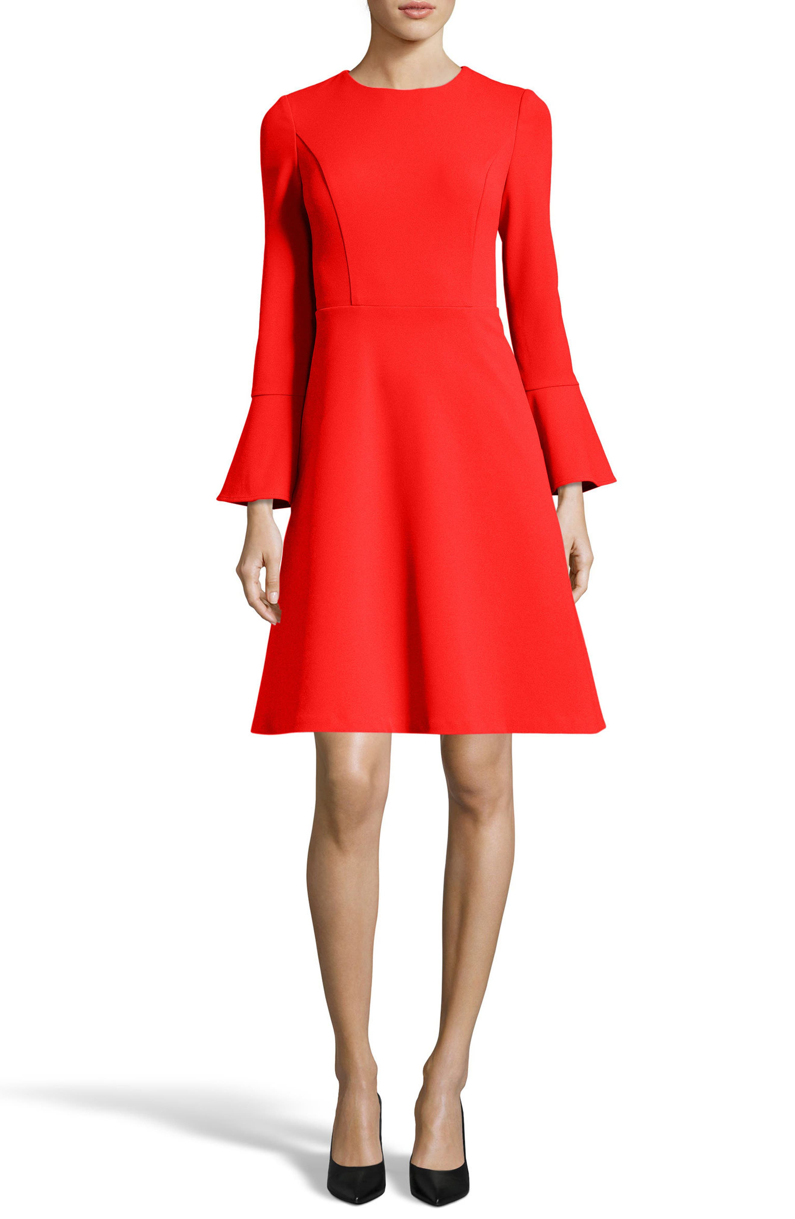Fit & Flare Dress,                         Main,                         color, Coral/ Red