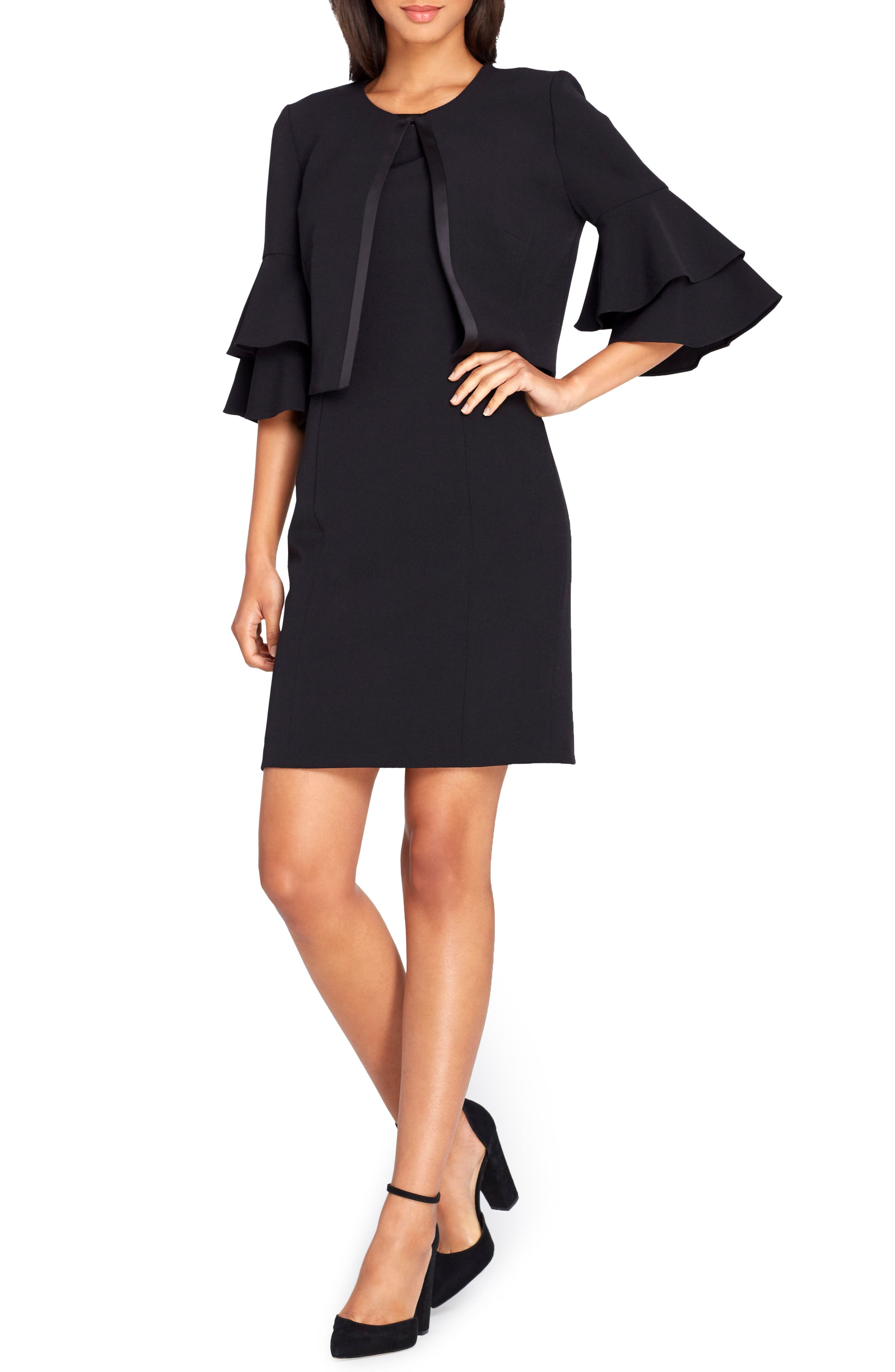 Sheath Dress with Jacket,                             Main thumbnail 1, color,                             Black