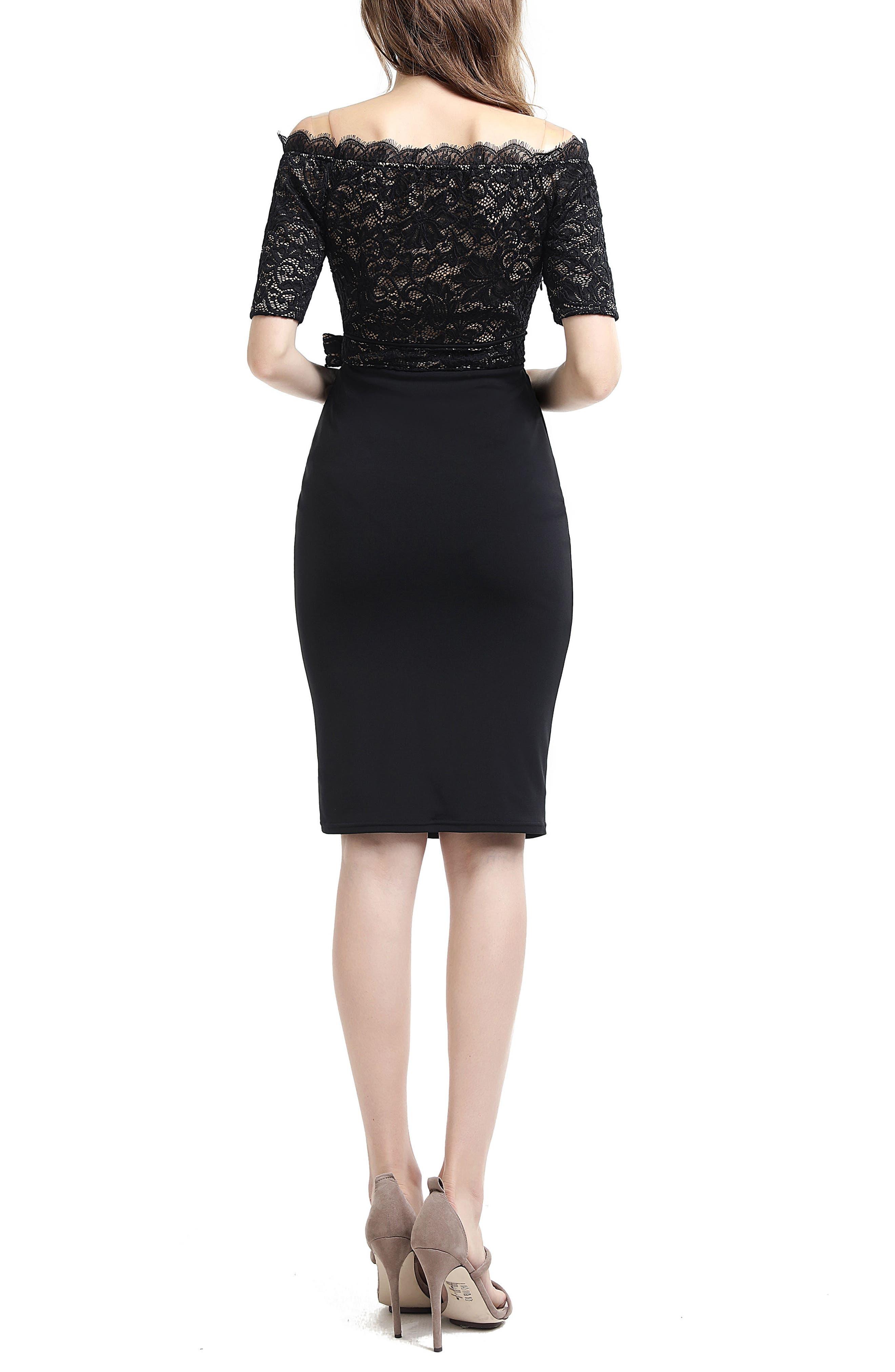Madeline Off the Shoulder Maternity Dress,                             Alternate thumbnail 2, color,                             Black