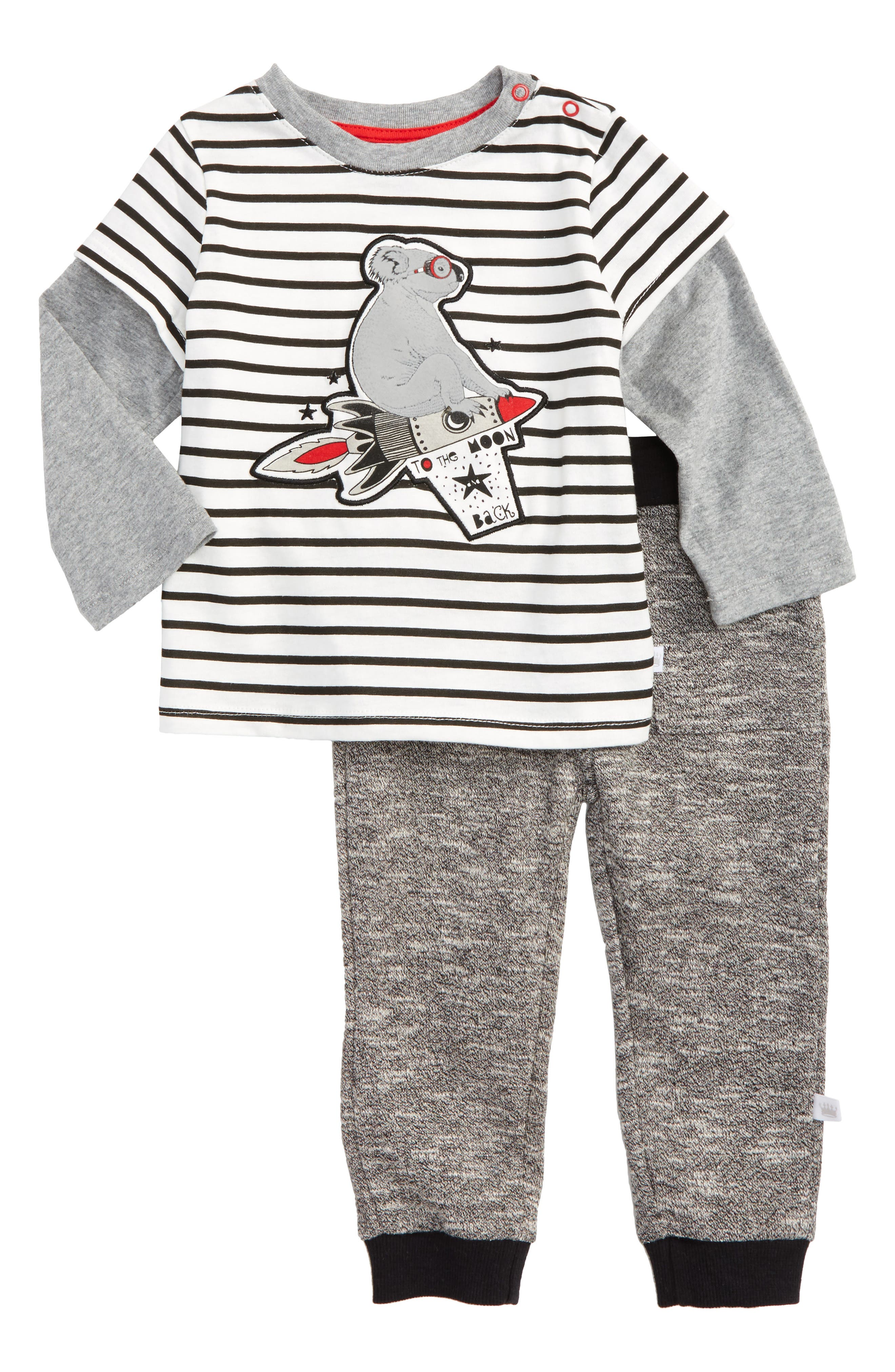 Rosie Pope To the Moon Graphic T-Shirt & Pants Set (Baby Boys)