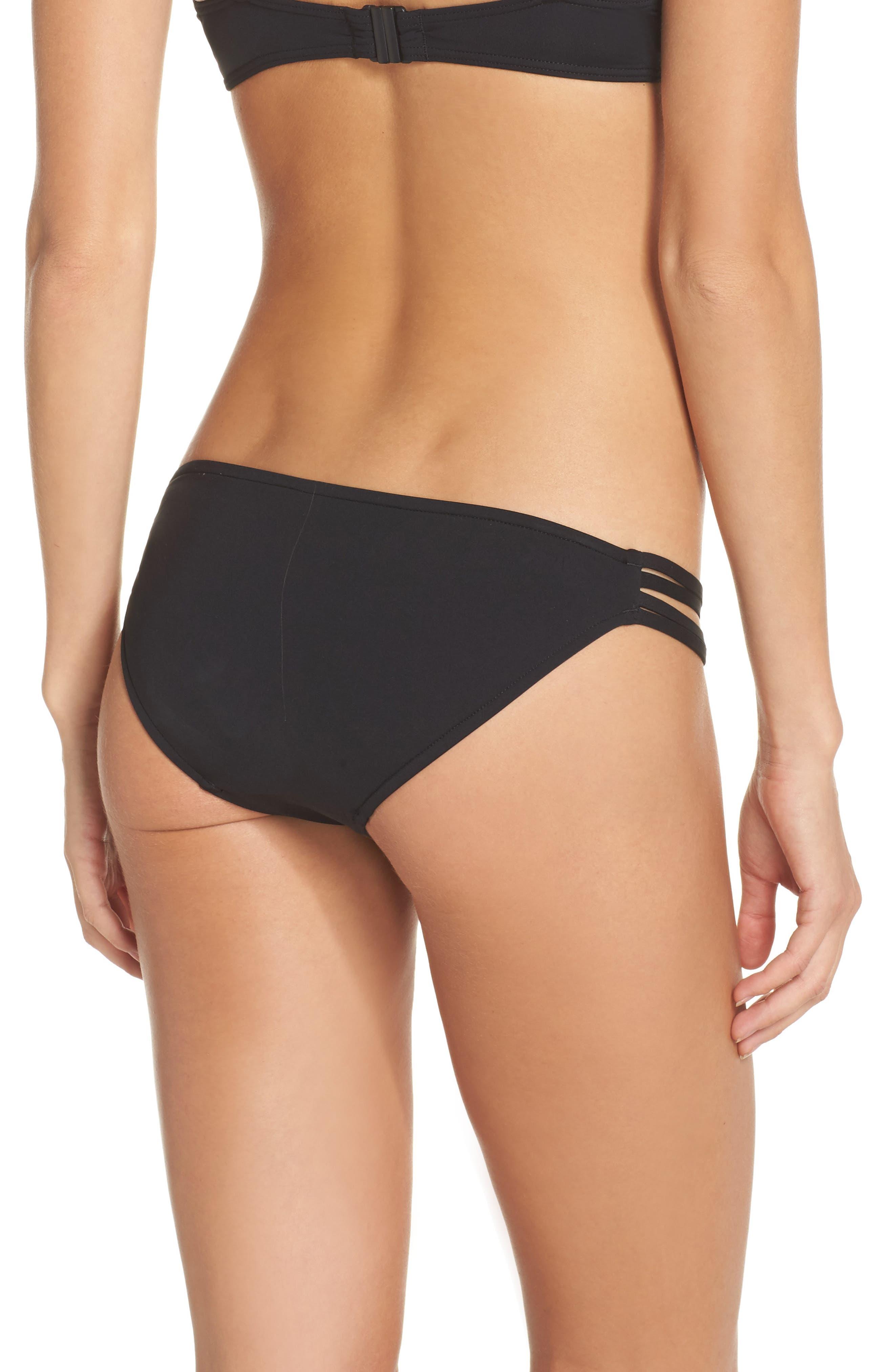 Cabana Embroidered Bikini Bottoms,                             Alternate thumbnail 2, color,                             Black