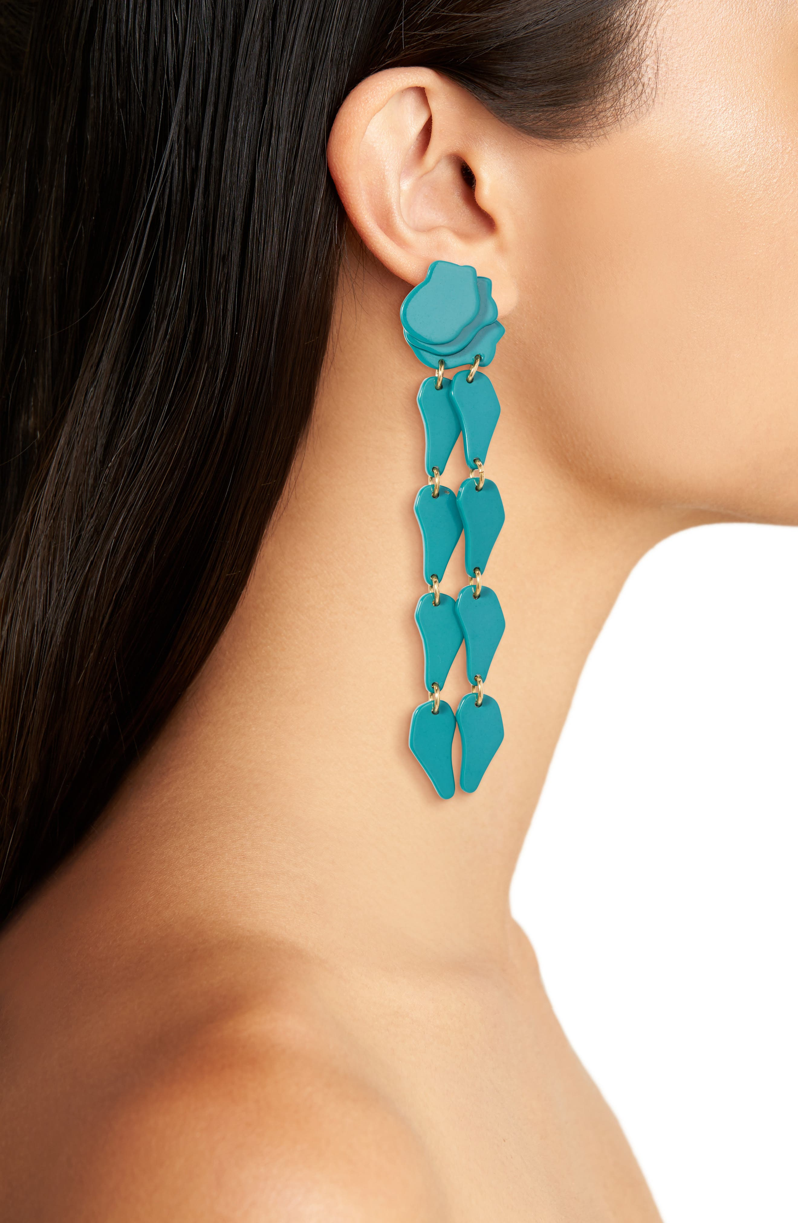 Confetti Wisteria Drop Earrings,                             Alternate thumbnail 2, color,                             Teal
