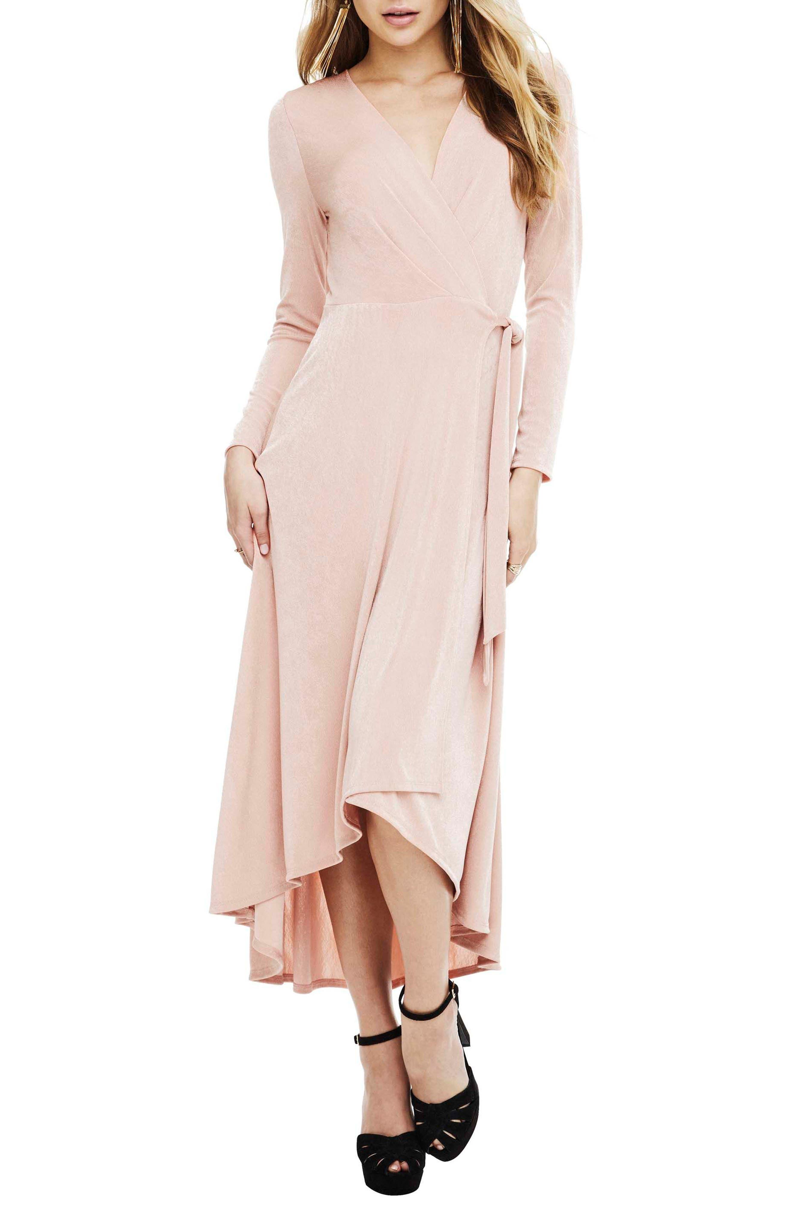 Melonie Wrap Dress,                         Main,                         color, Blush
