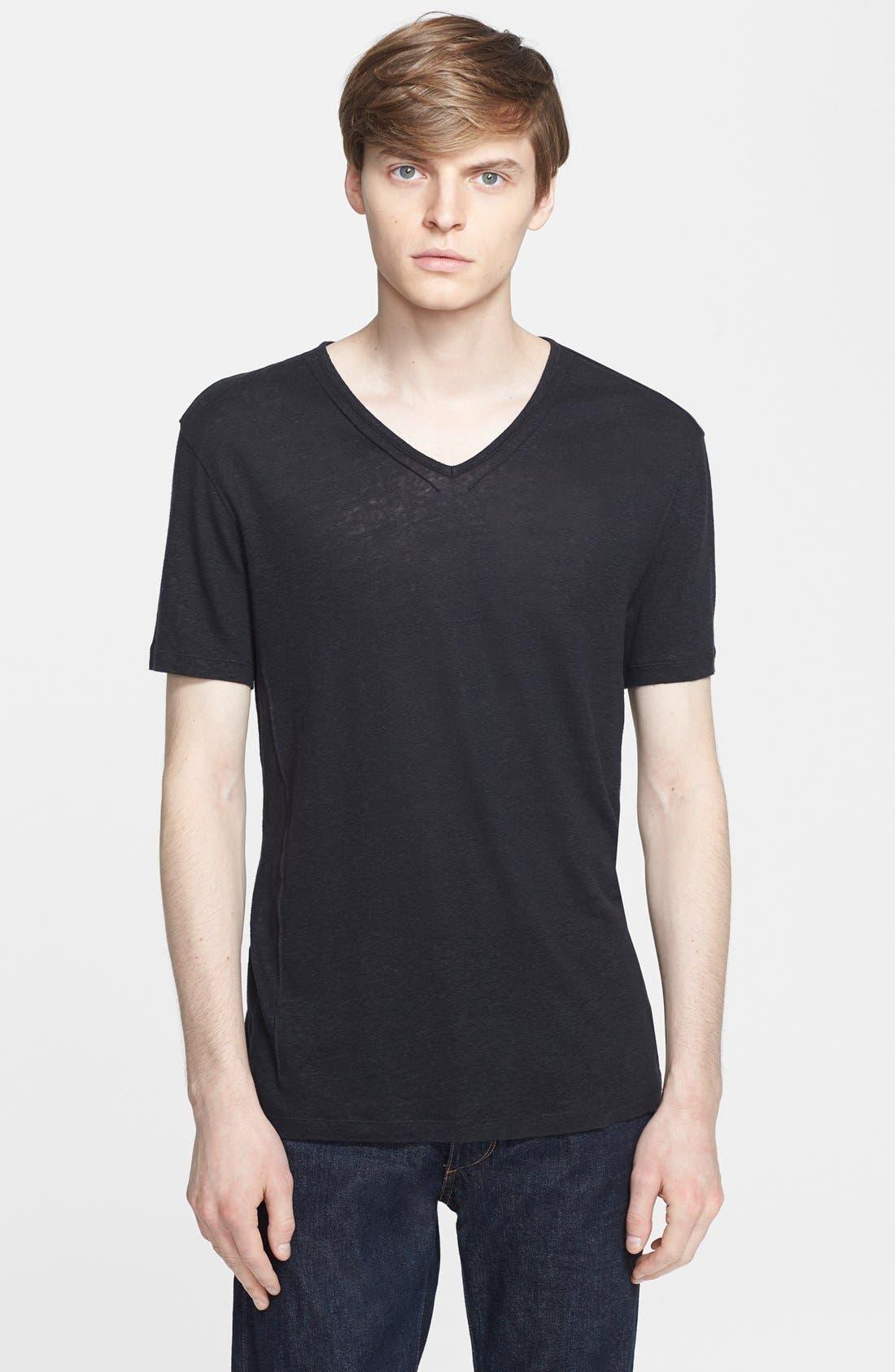 Pintuck V-Neck T-Shirt,                         Main,                         color, Black