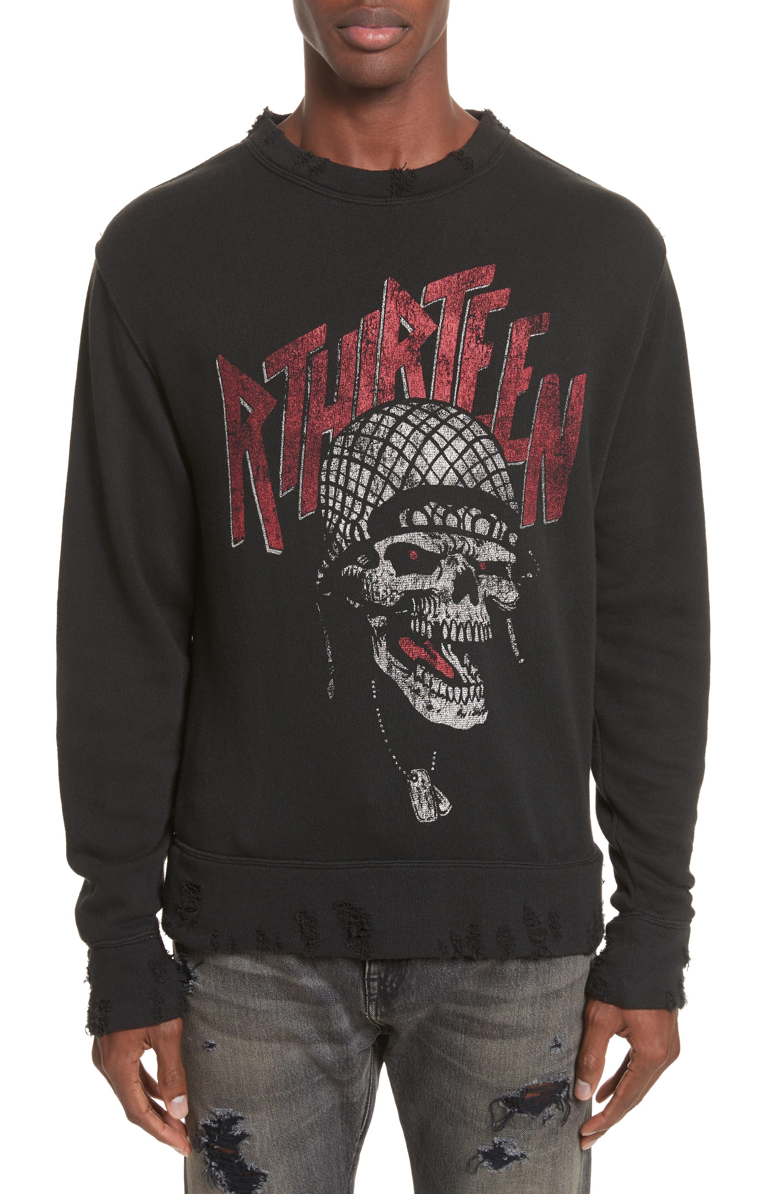 R13 Battle Punk Graphic Sweatshirt