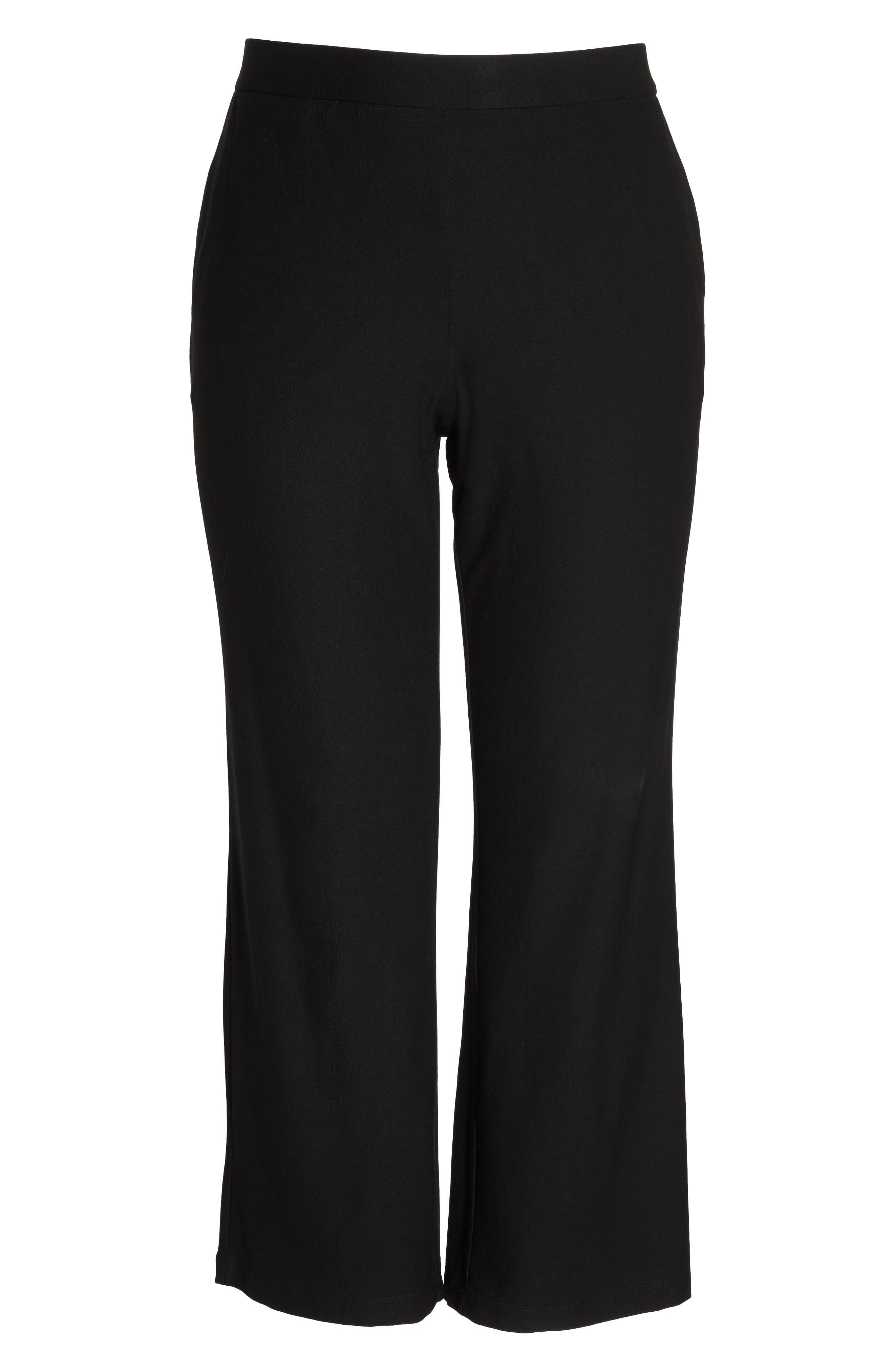 Straight Leg Knit Pants,                             Alternate thumbnail 6, color,                             Black
