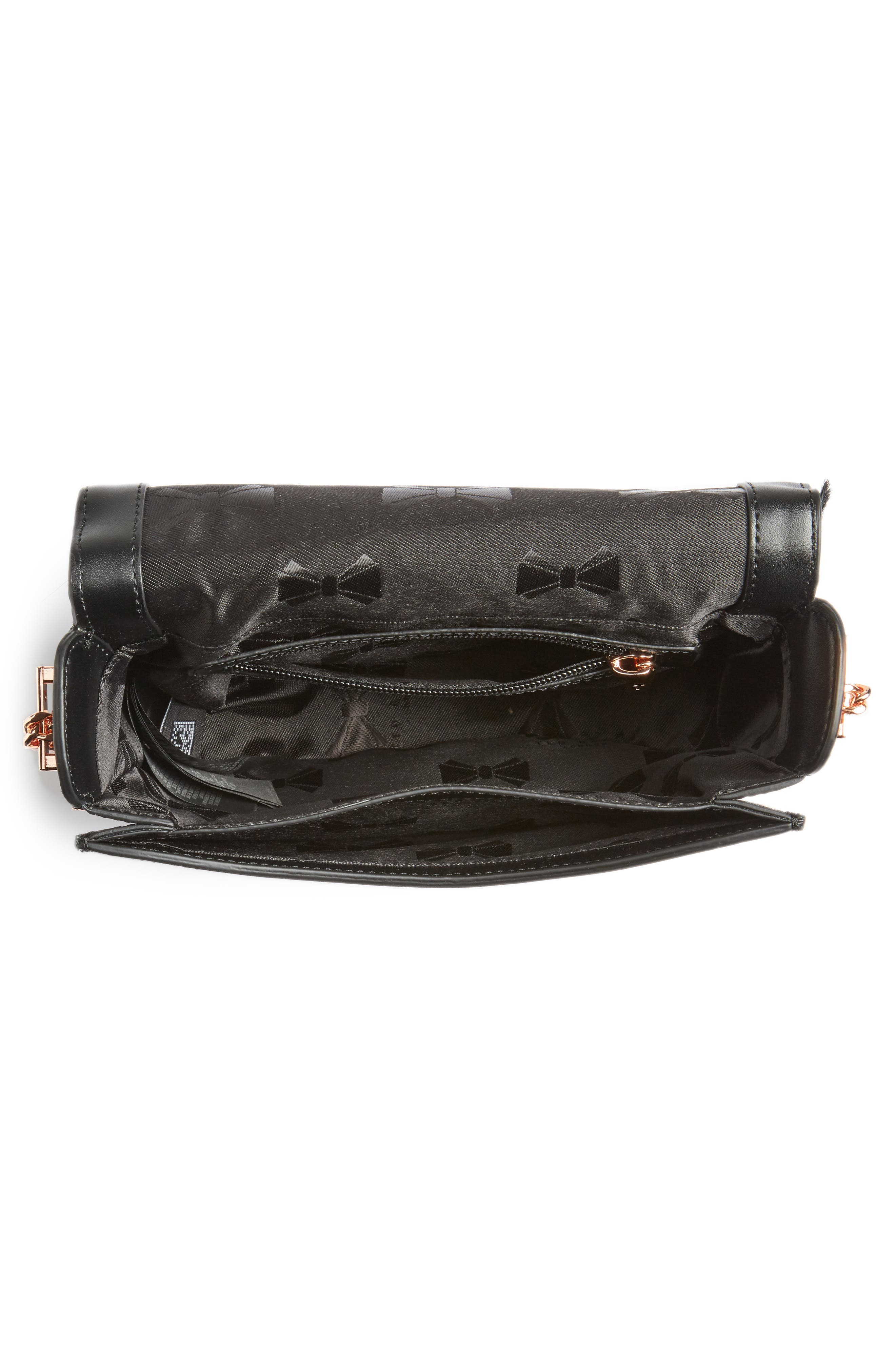 Alisonn Leather & Genuine Springbok Fur Saddle Bag,                             Alternate thumbnail 5, color,                             Black