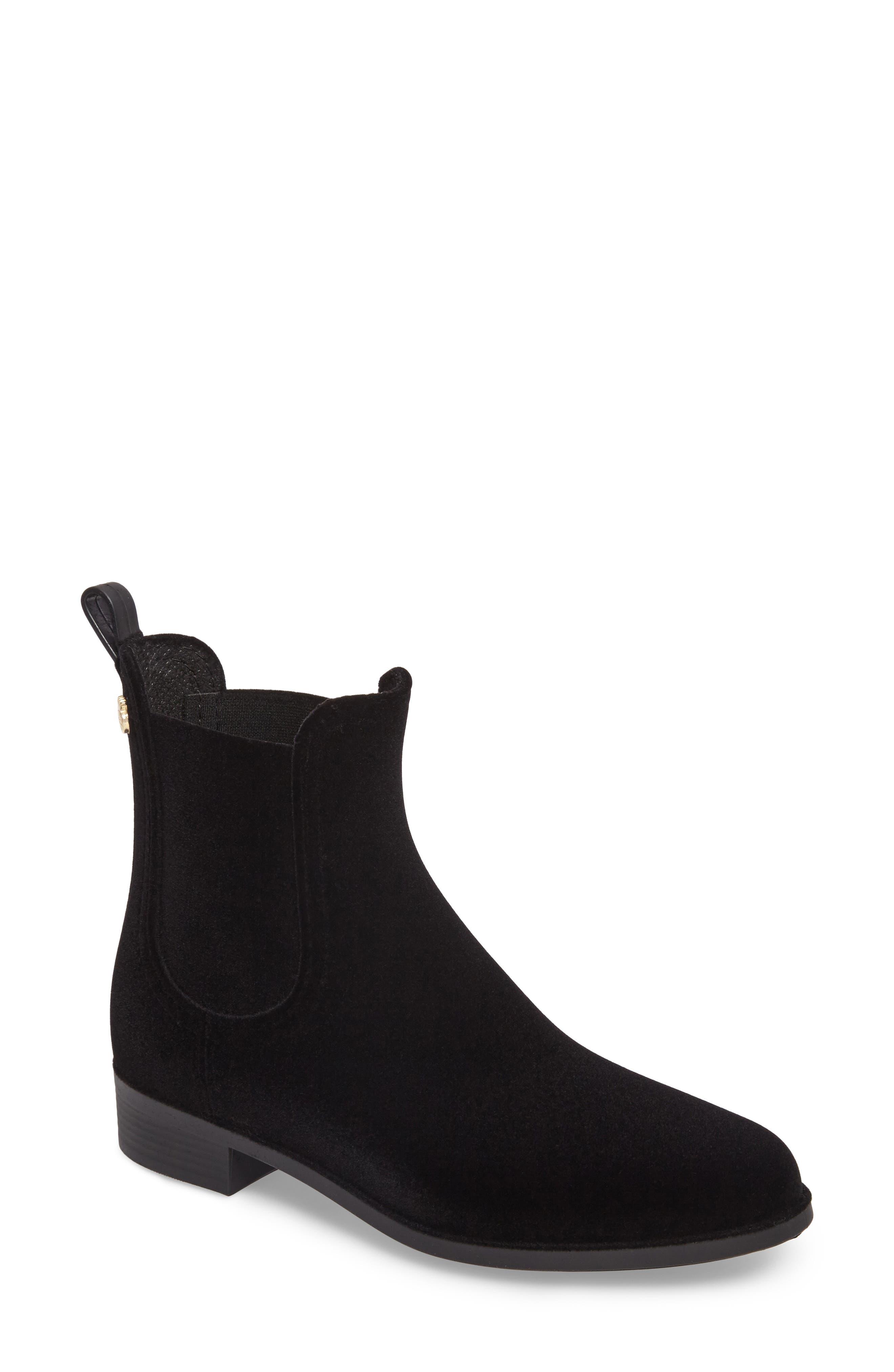 Velvety Waterproof Chelsea Bootie,                         Main,                         color, Black