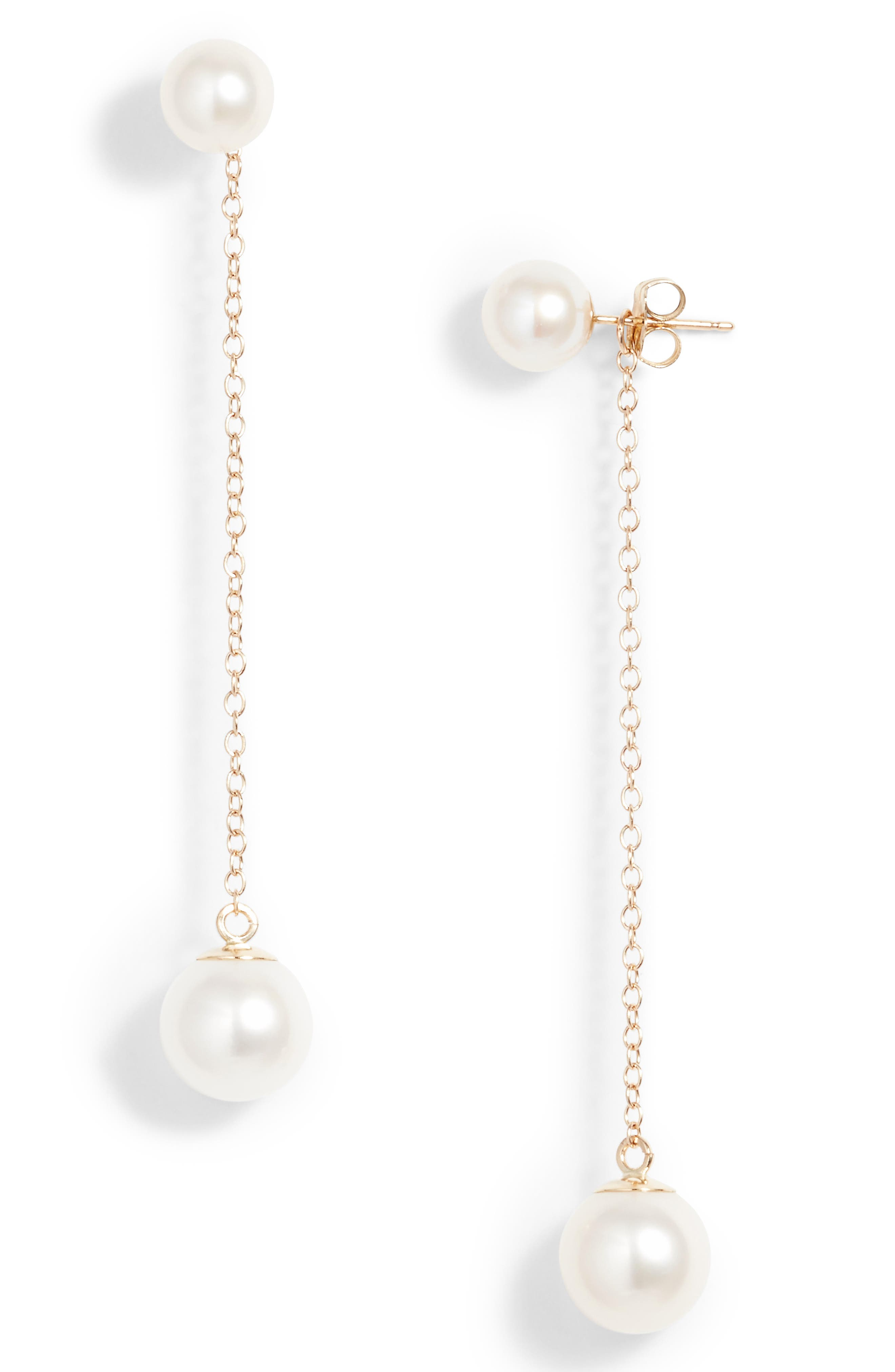 Front/Back Pearl Drop Earrings,                         Main,                         color, Yellow Gold