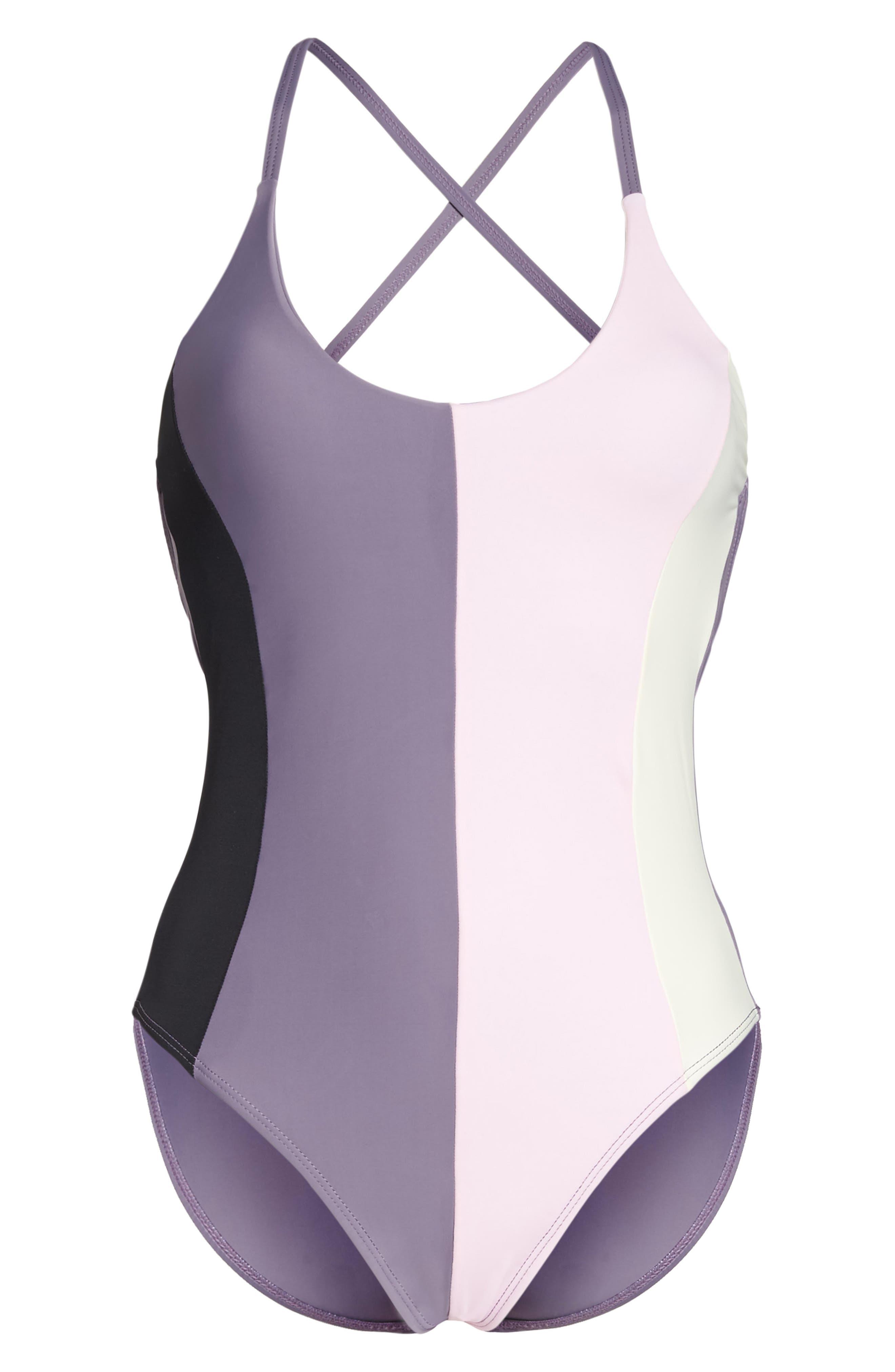 Farrah Colorblock One-Piece Swimsuit,                             Alternate thumbnail 6, color,                             Amethyst