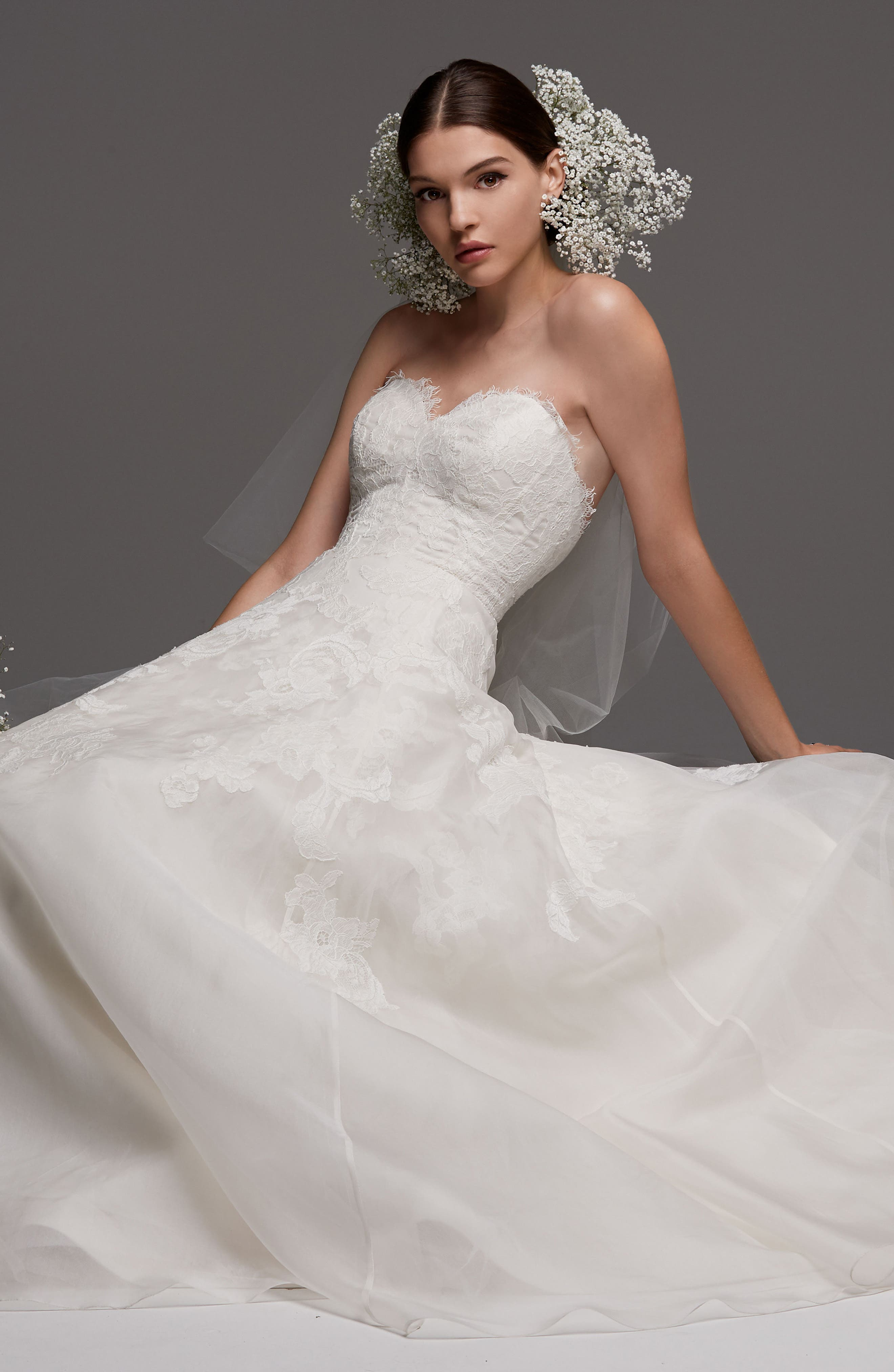 Luxembourg Strapless Lace & Organza Ballgown,                             Alternate thumbnail 3, color,                             Ivory