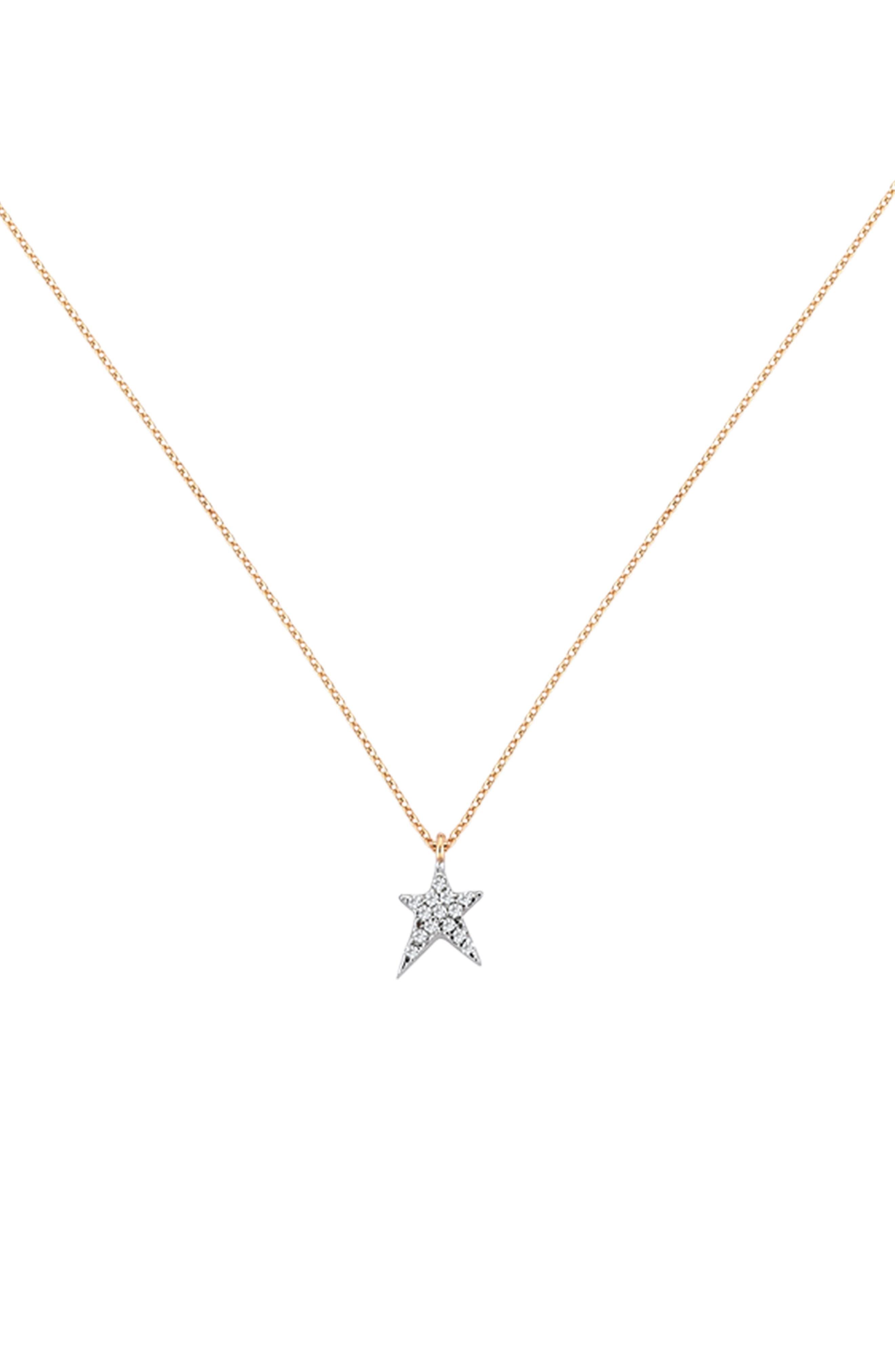 Diamond Star Pendant Necklace,                         Main,                         color, Rose Gold
