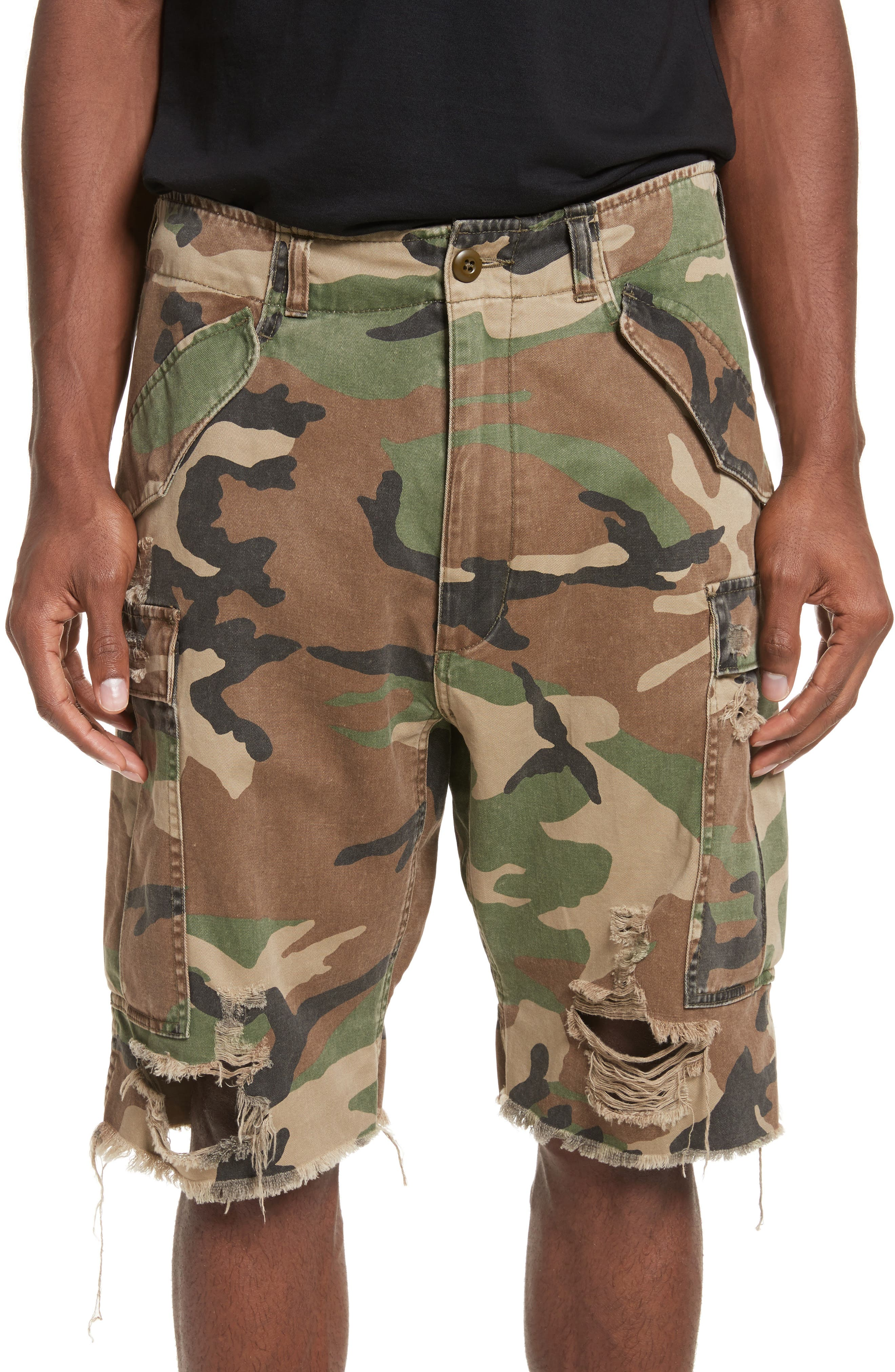Surplus Shredded Camo Cargo Shorts,                             Main thumbnail 1, color,                             Camo