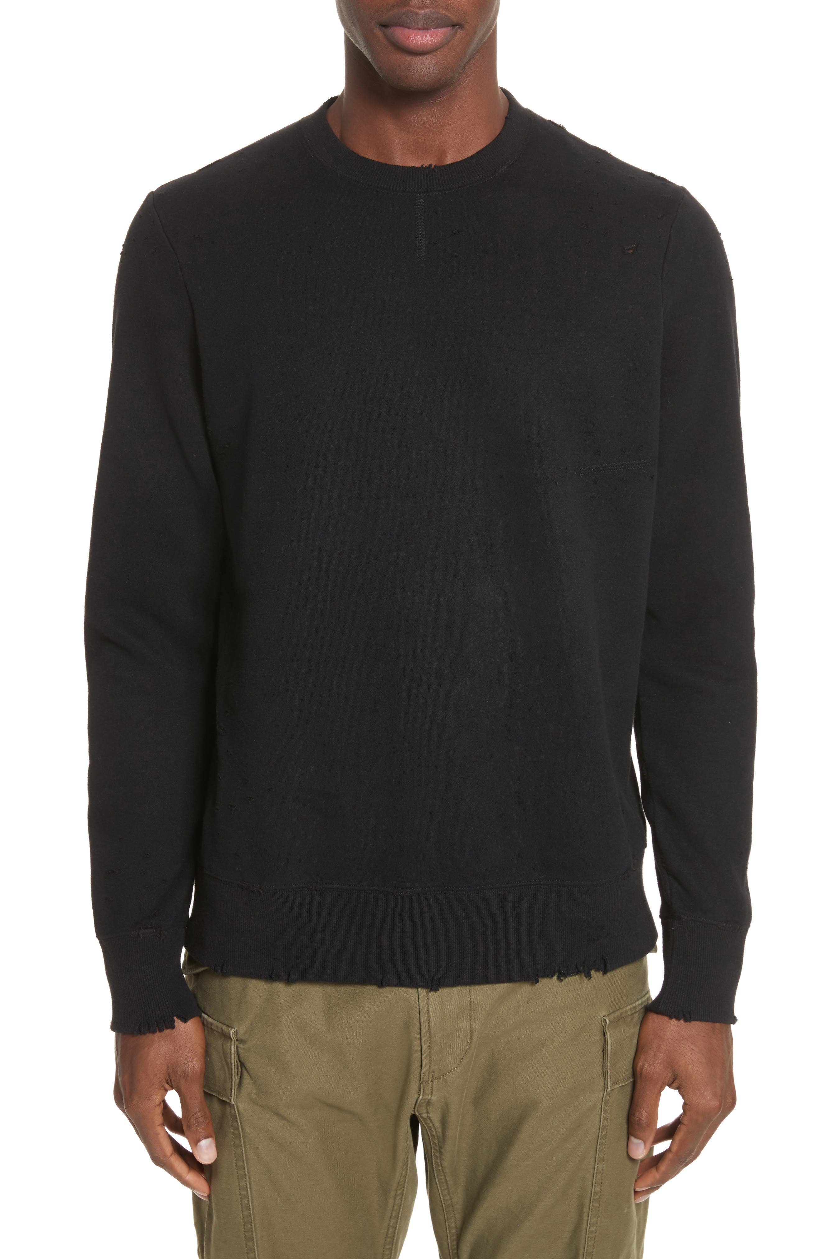 Distressed Crewneck Sweatshirt,                         Main,                         color, Black