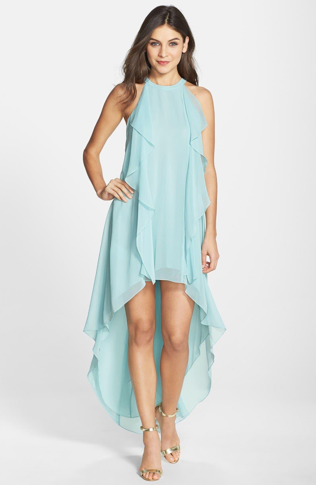Main Image - BCBGMAXAZRIA 'Kelsia' Ruffle Georgette Trapeze Dress