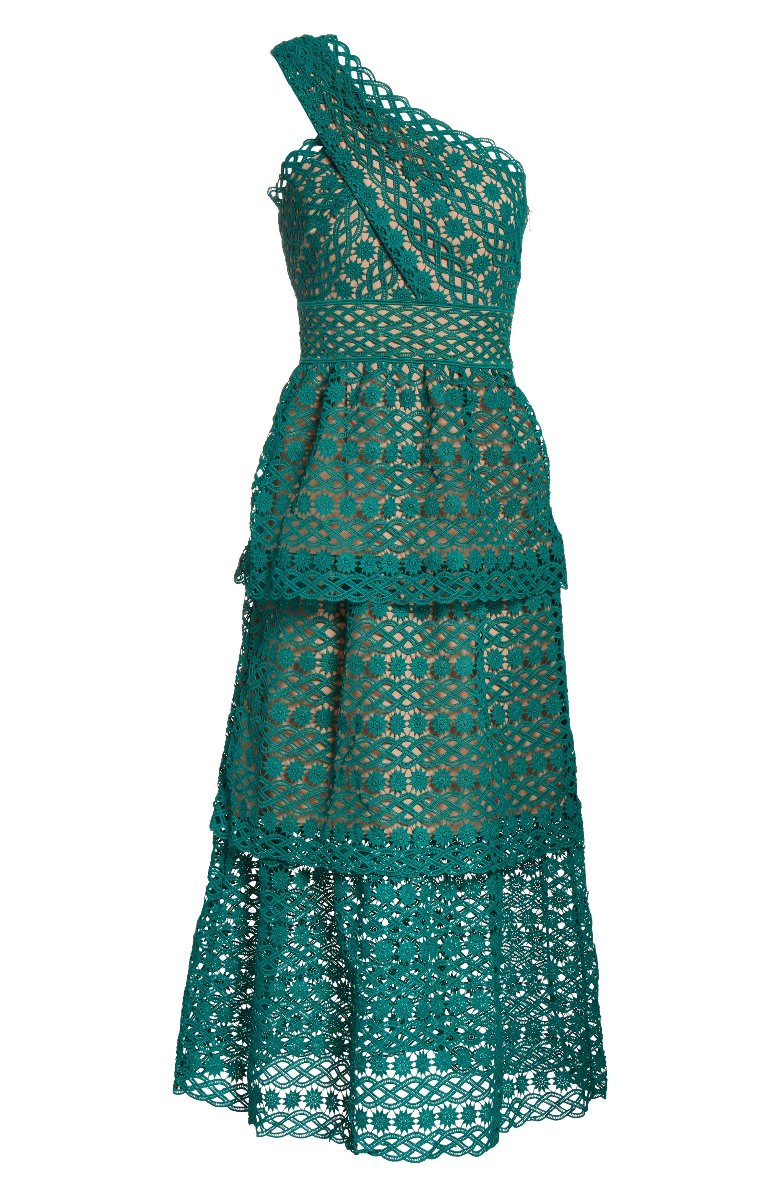 Lace One-Shoulder Midi Dress,                             Alternate thumbnail 6, color,                             Green