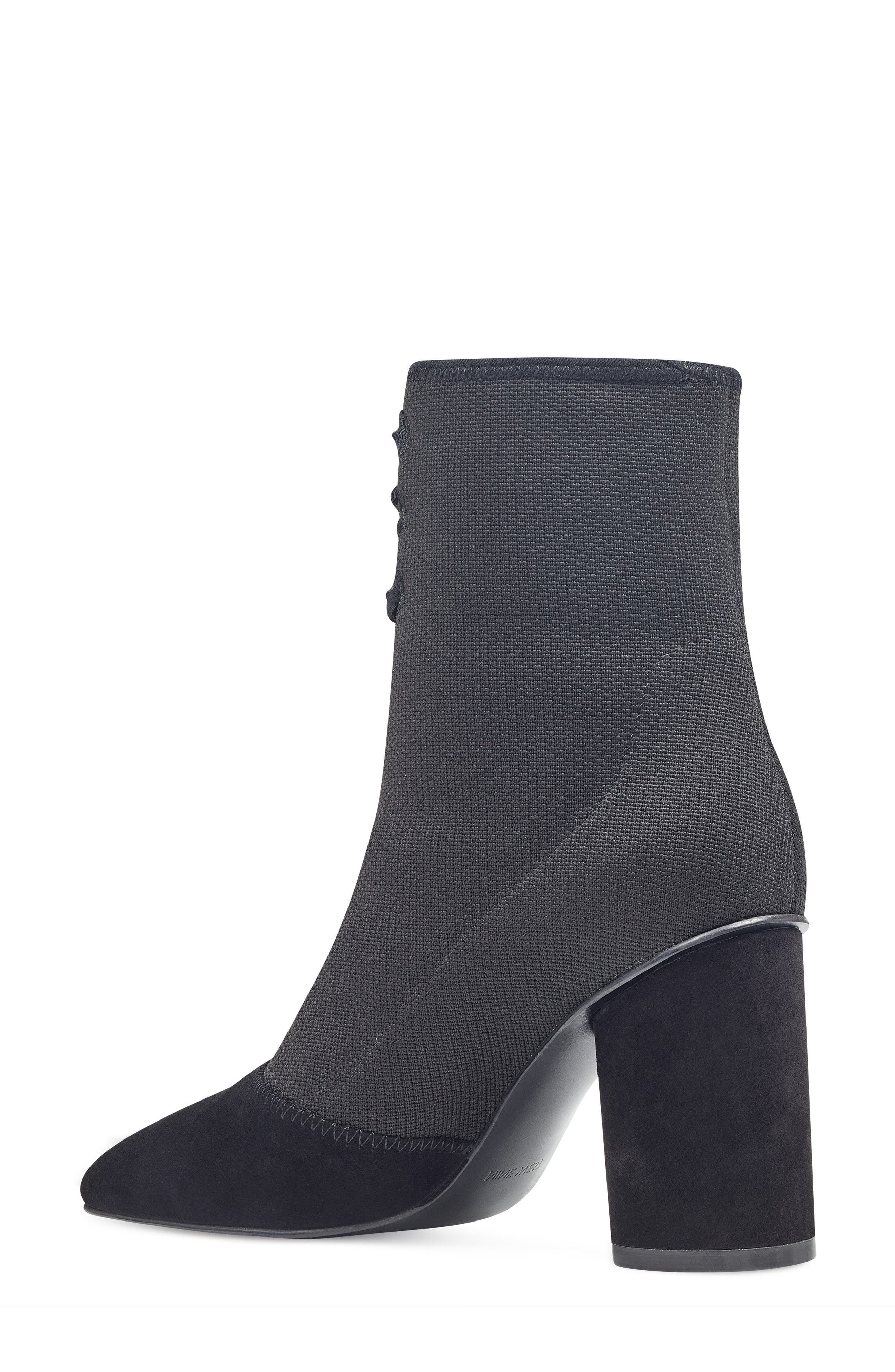 Carolina Pointy Toe Bootie,                             Alternate thumbnail 2, color,                             Black Multi Fabric