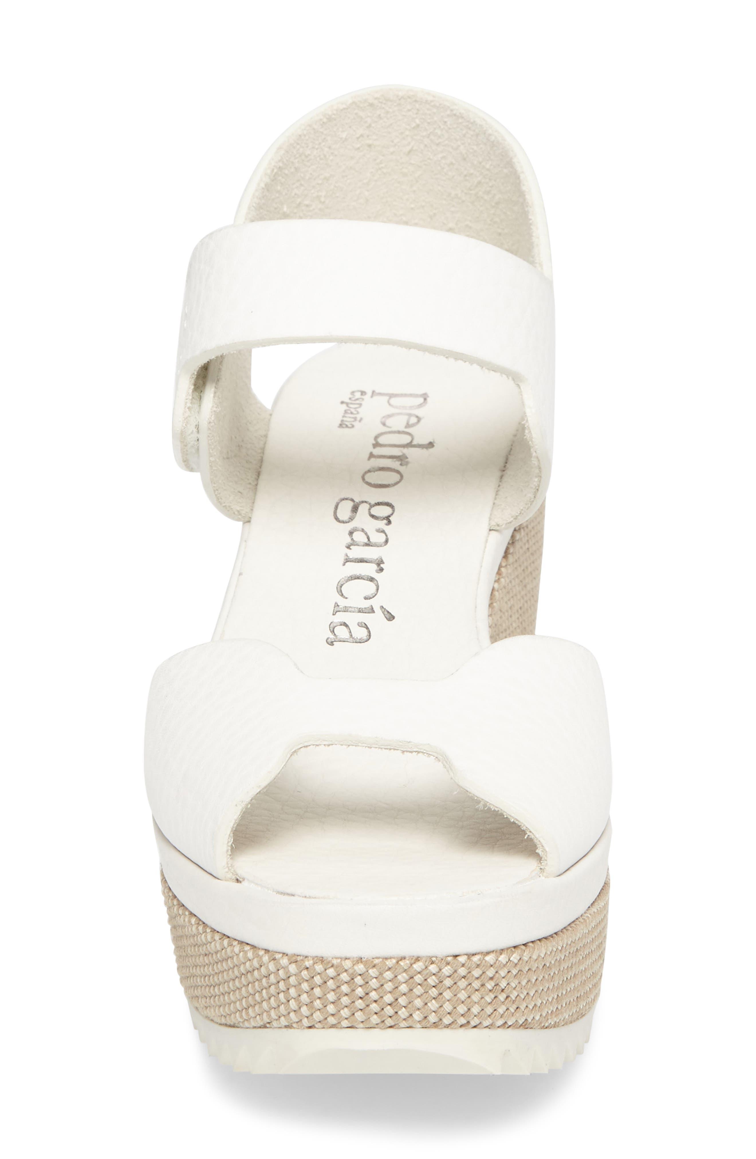Fah Wedge Sandal,                             Alternate thumbnail 4, color,                             White Cervo