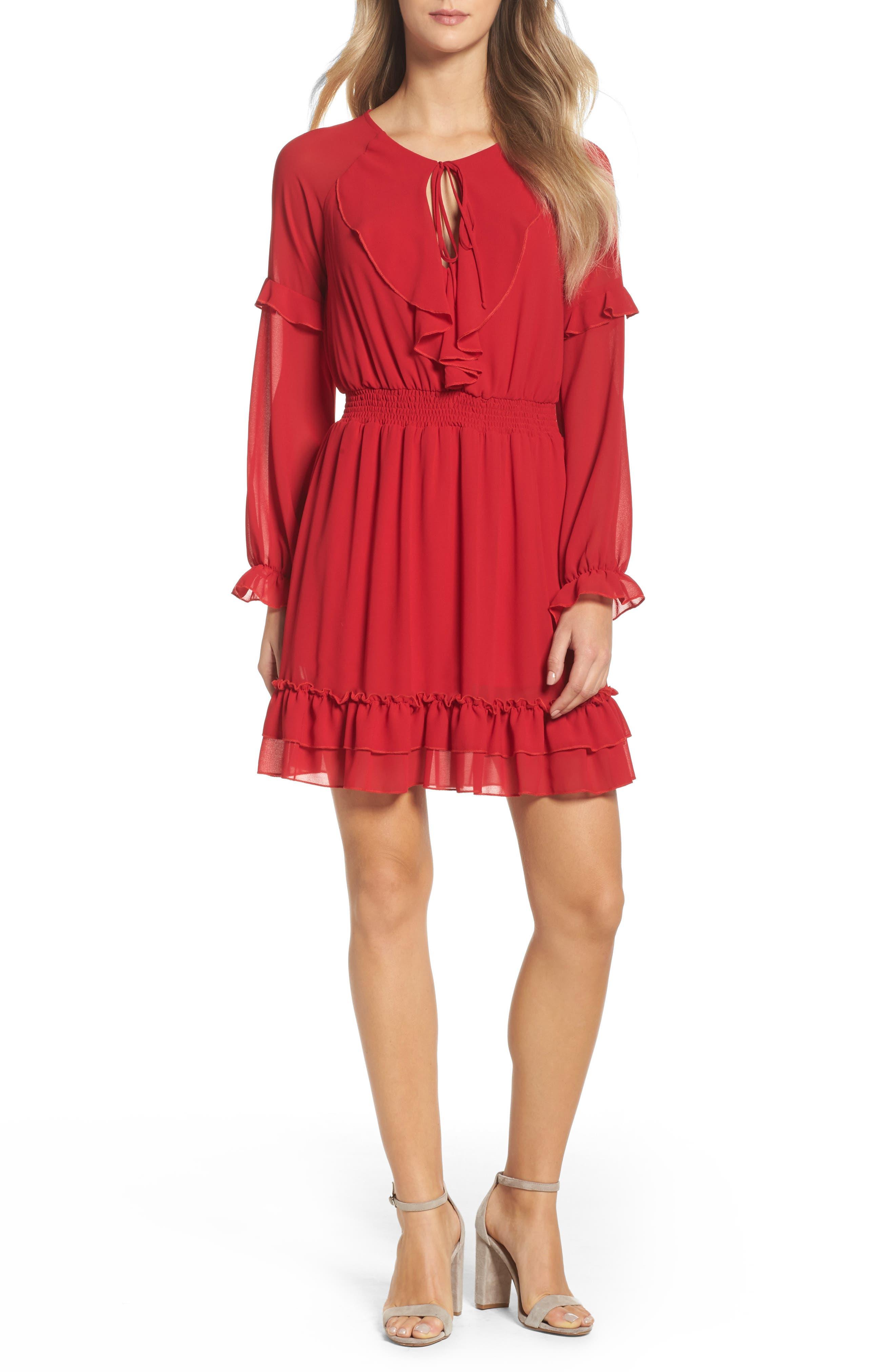 Julia Chiffon Skater Dress,                         Main,                         color, Red