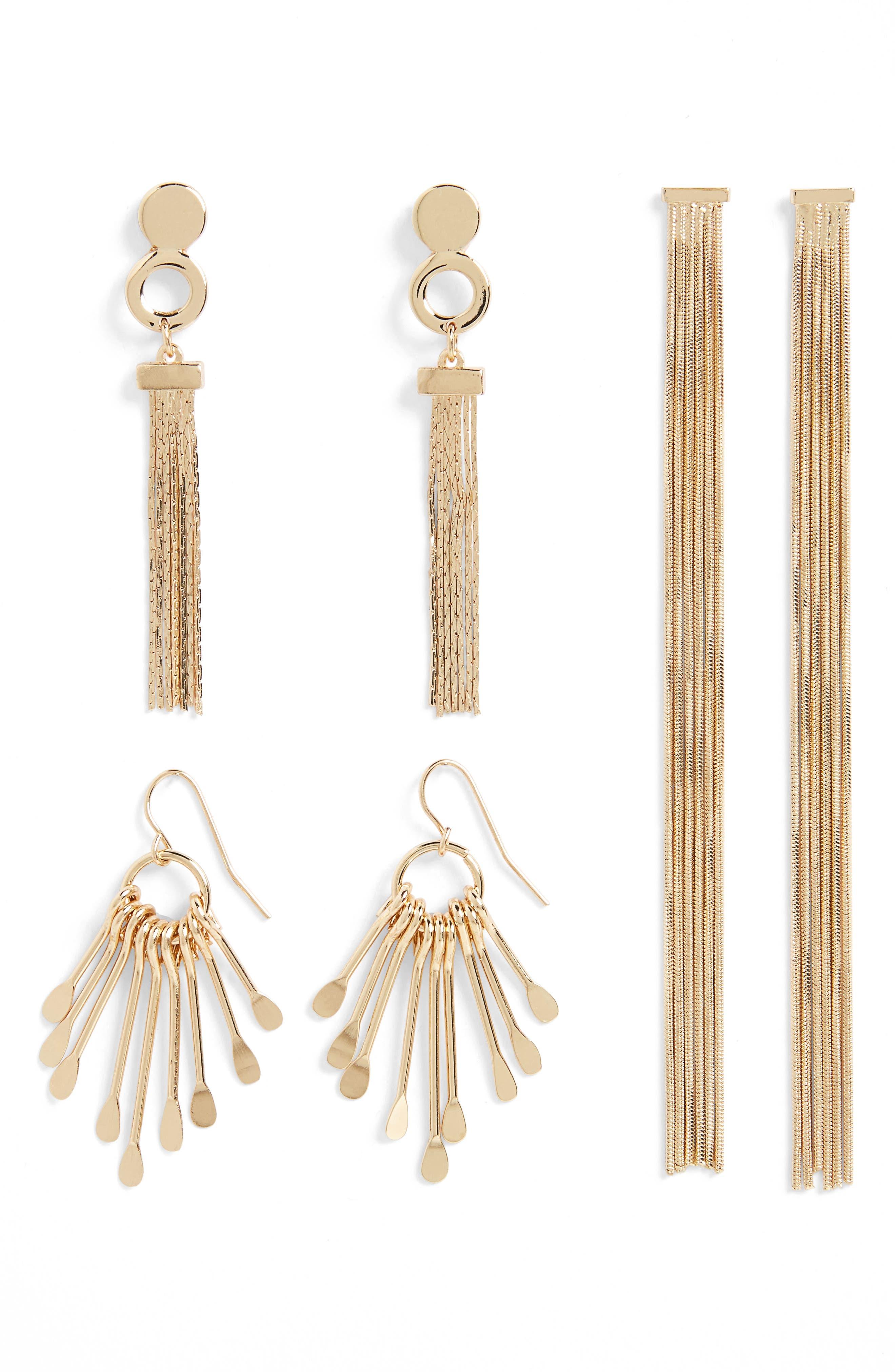 BP. 3-Pack Tassel Earrings
