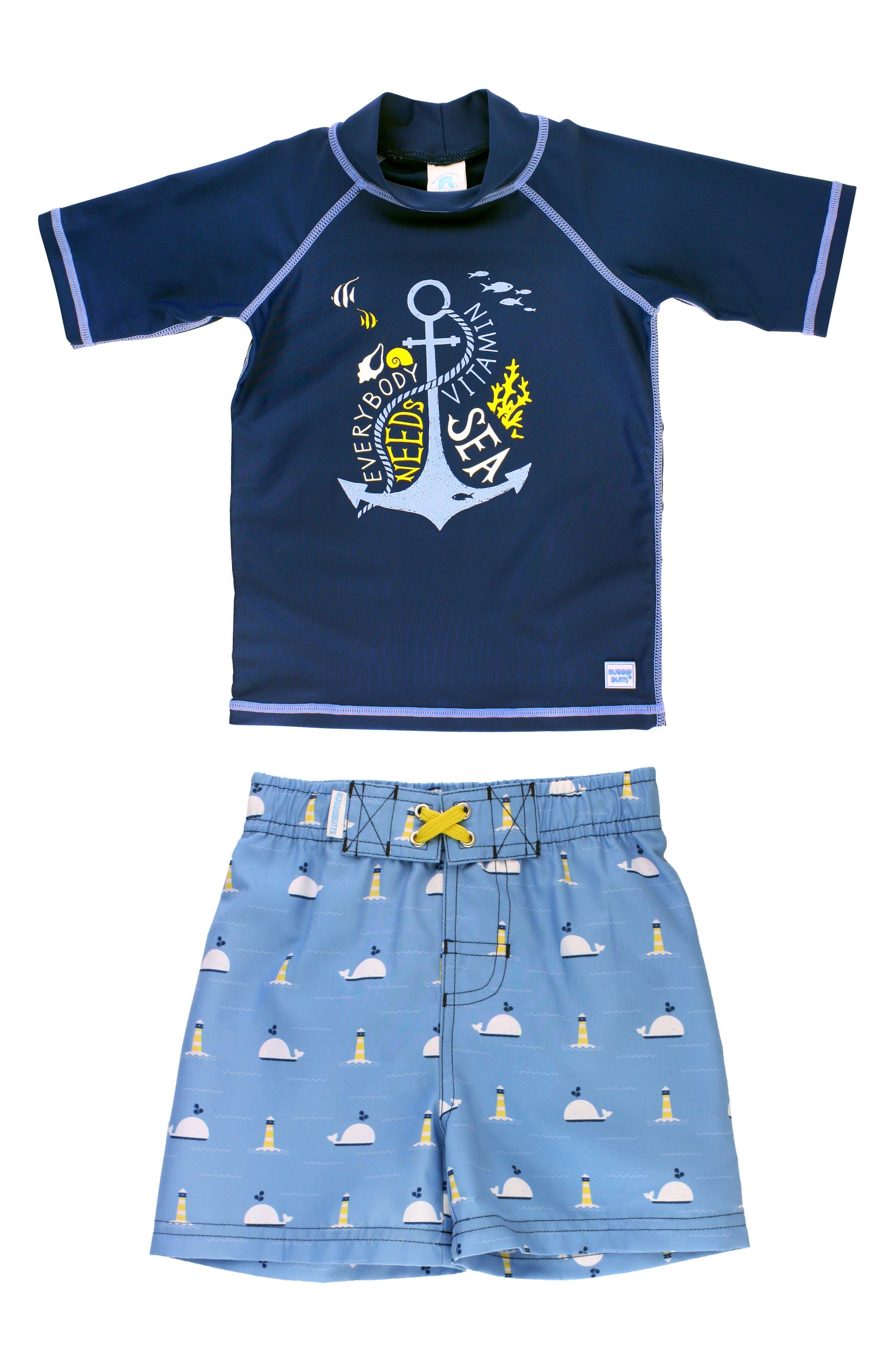 Main Image - RuggedButts Vitamin Sea Two-Piece Rashguard Swimsuit (Baby Boys)