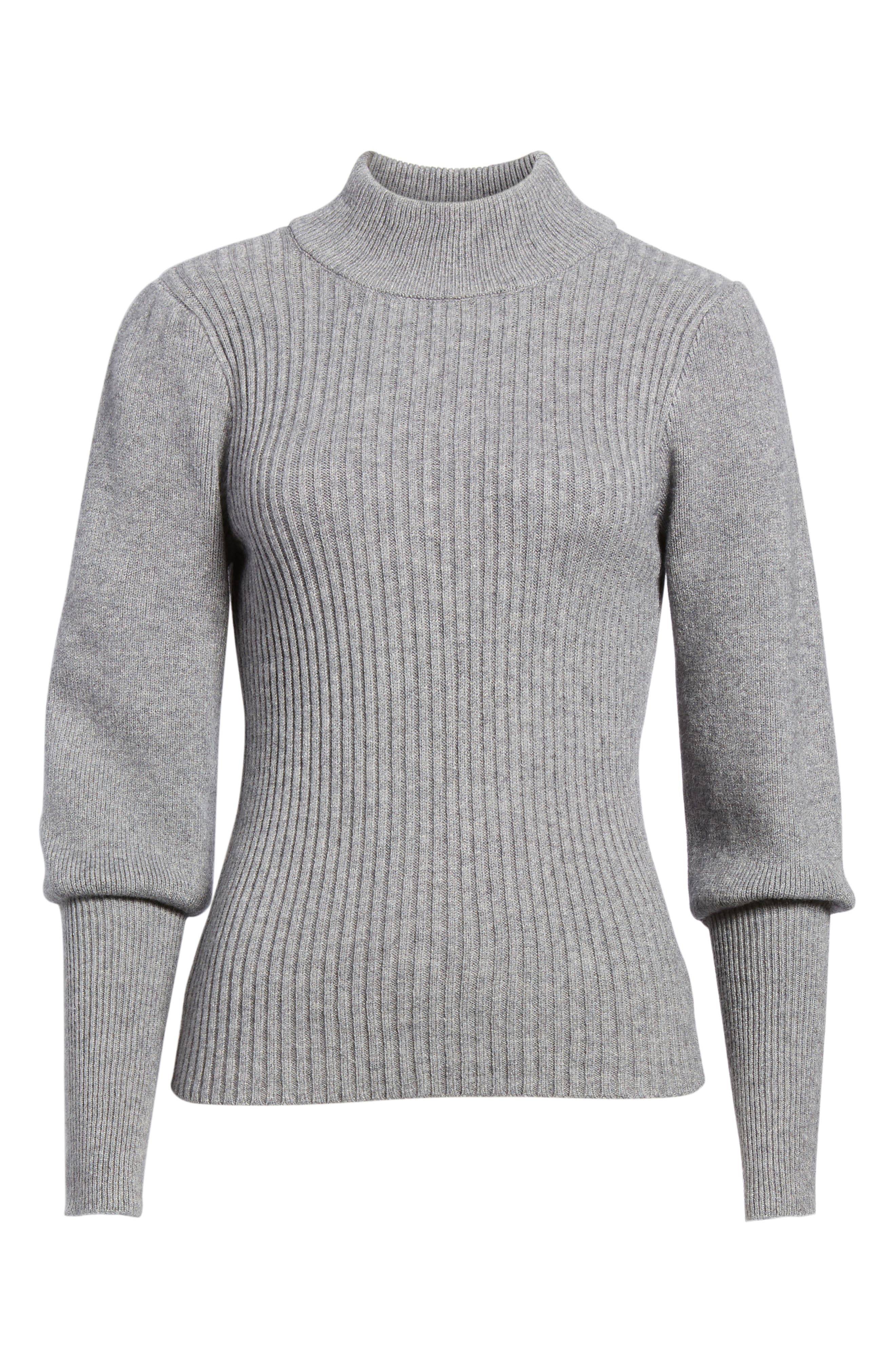 Puff Sleeve Sweater,                             Alternate thumbnail 6, color,                             Grey