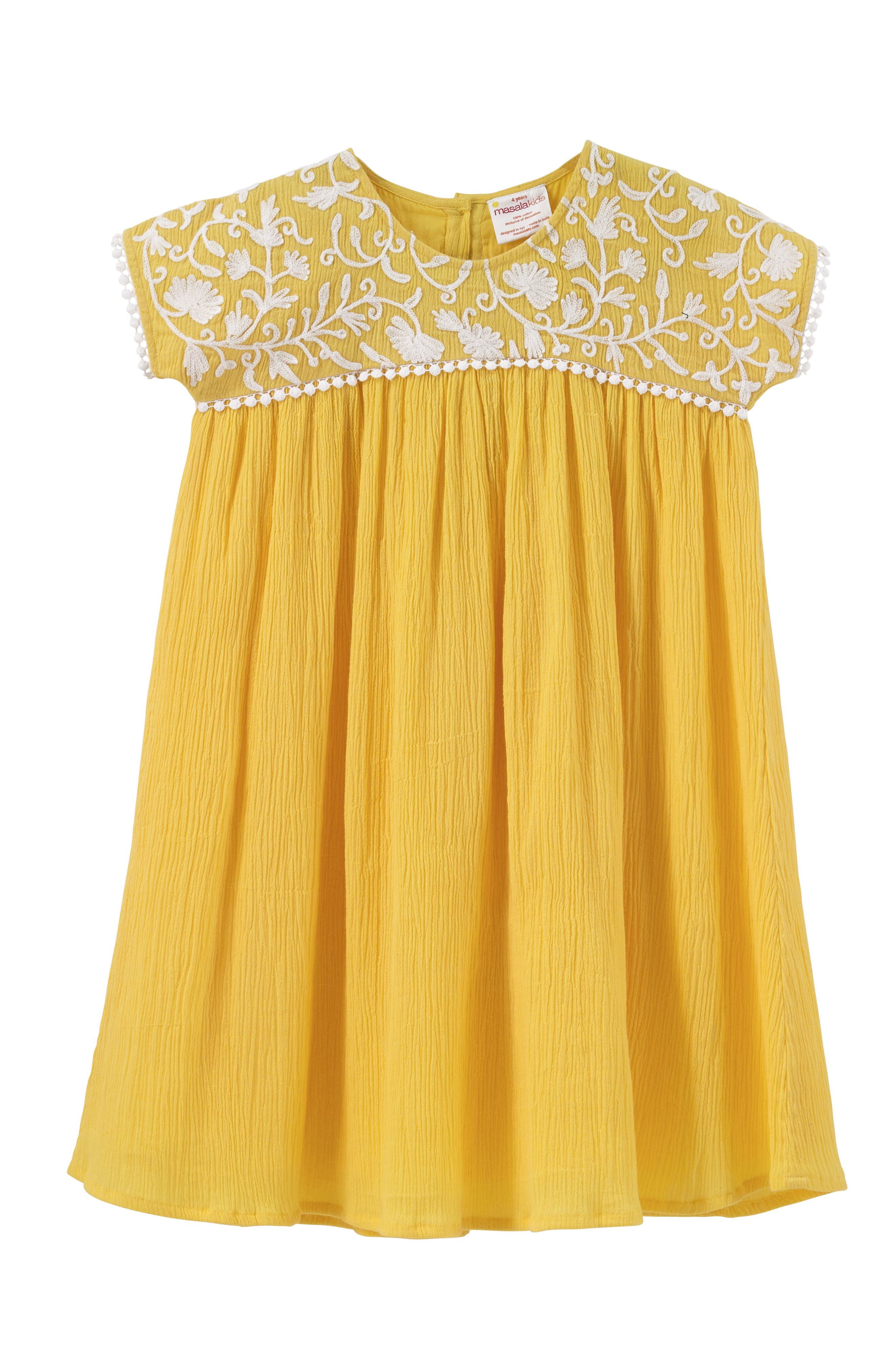 Gia Embroidered Dress,                             Main thumbnail 1, color,                             Yellow