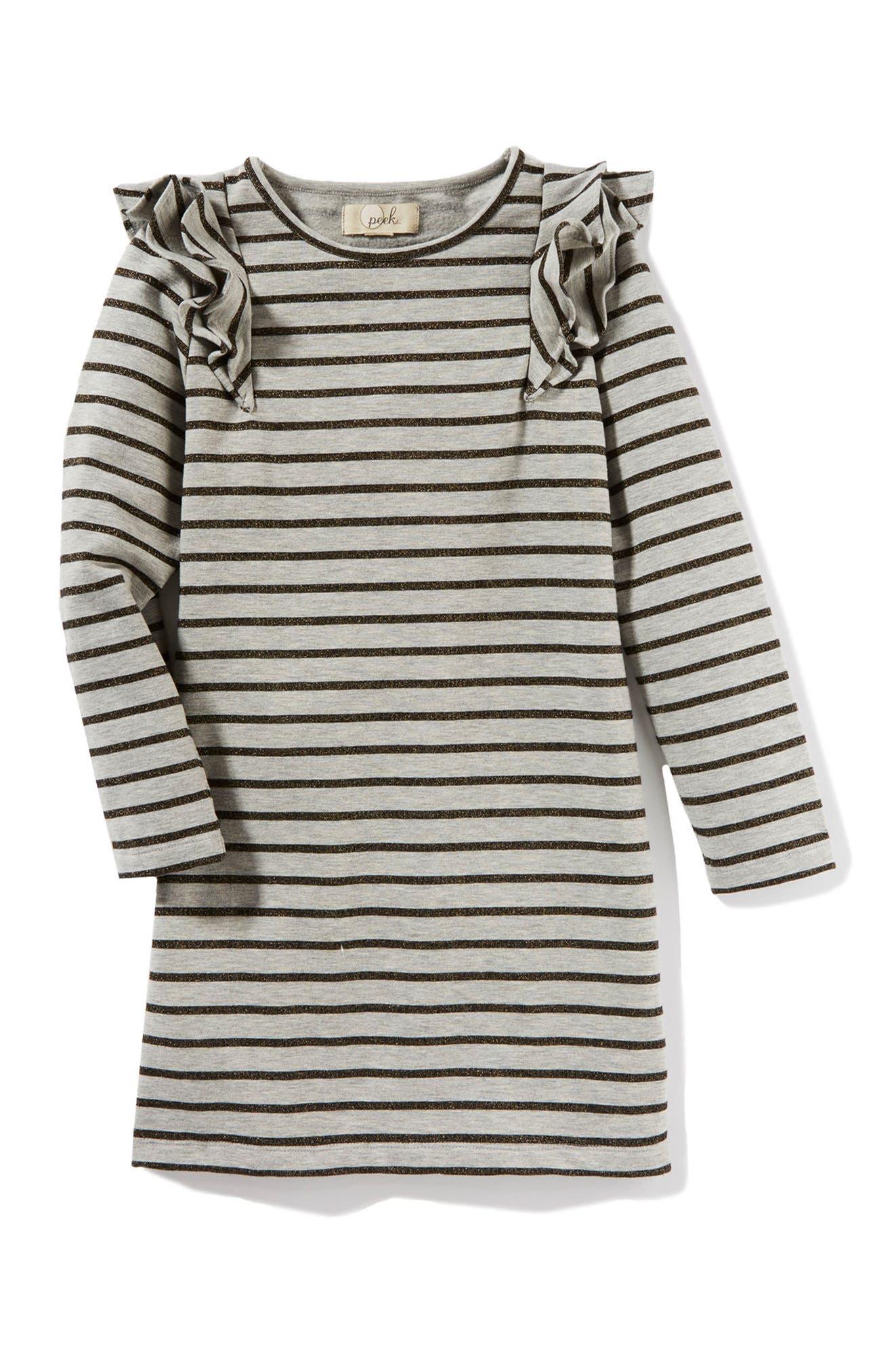 Peek Ruffle Stripe Dress (Toddler Girls, Little Girls & Big Girls)
