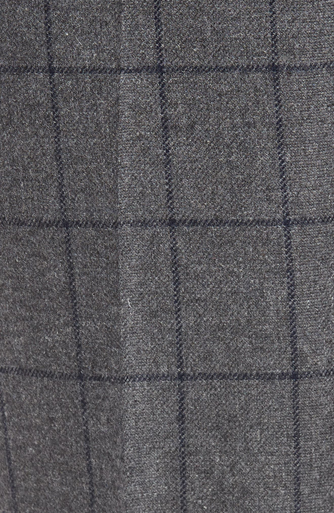 Flat Front Windowpane Wool Blend Trousers,                             Alternate thumbnail 5, color,                             Grey