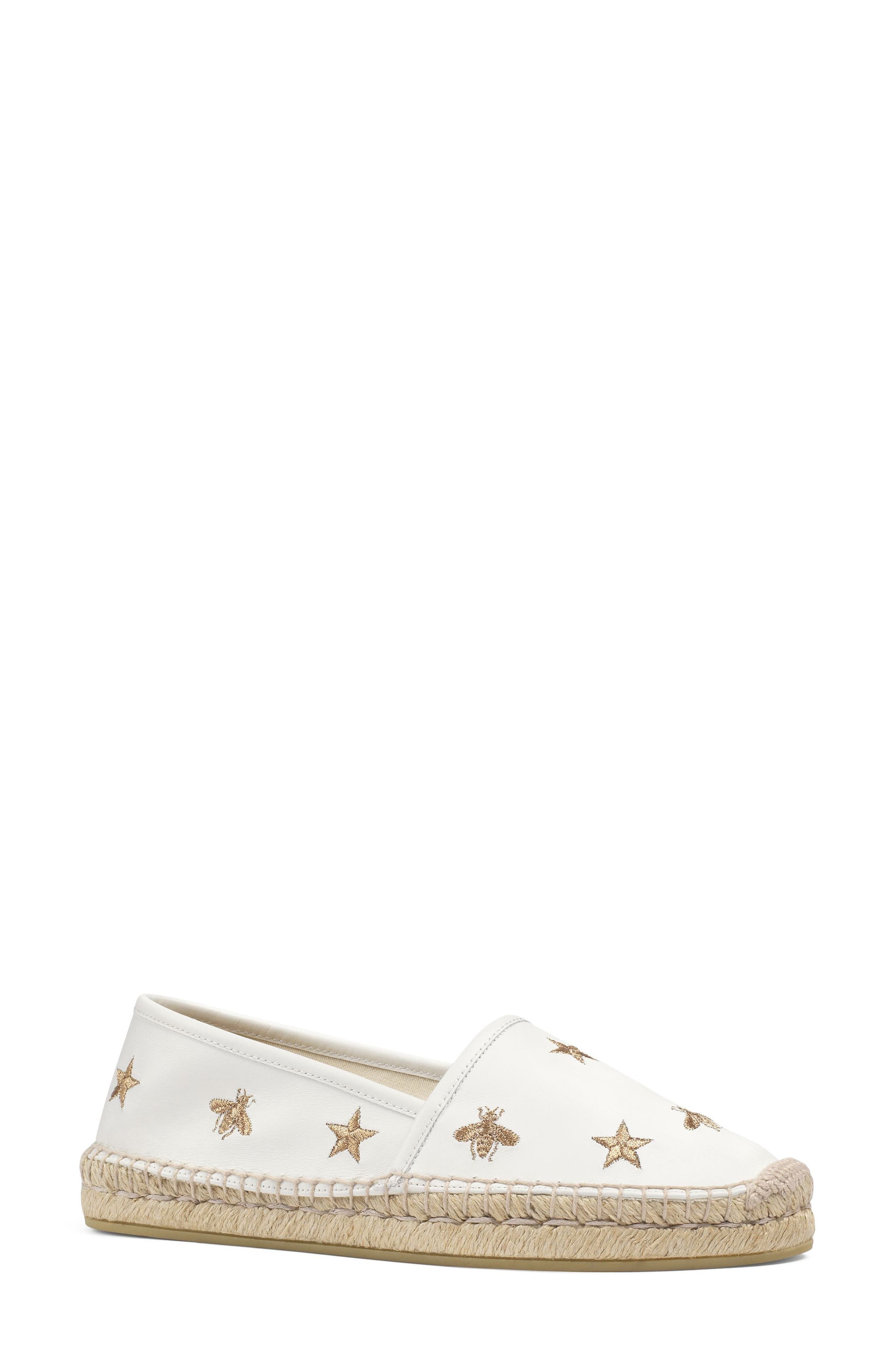 Pilar Bee Embroidery Espadrille,                         Main,                         color, White