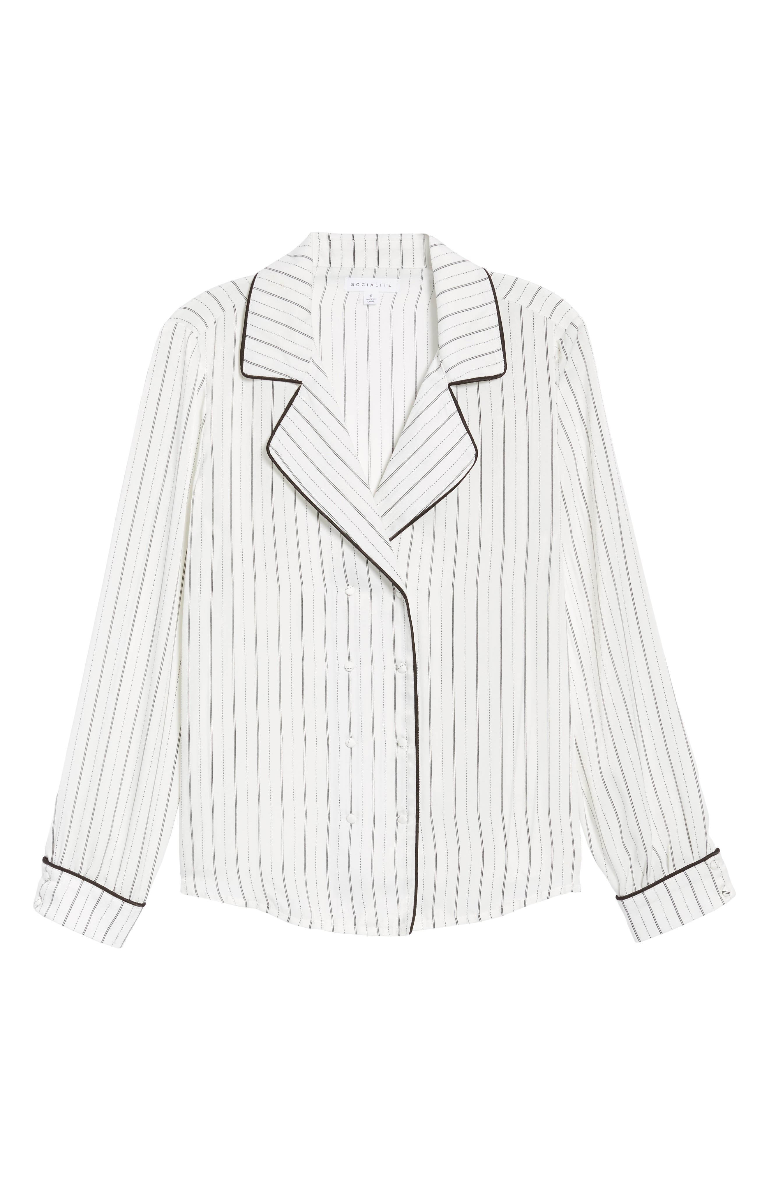 Double Breasted Pajama Top,                             Alternate thumbnail 6, color,                             Stripe