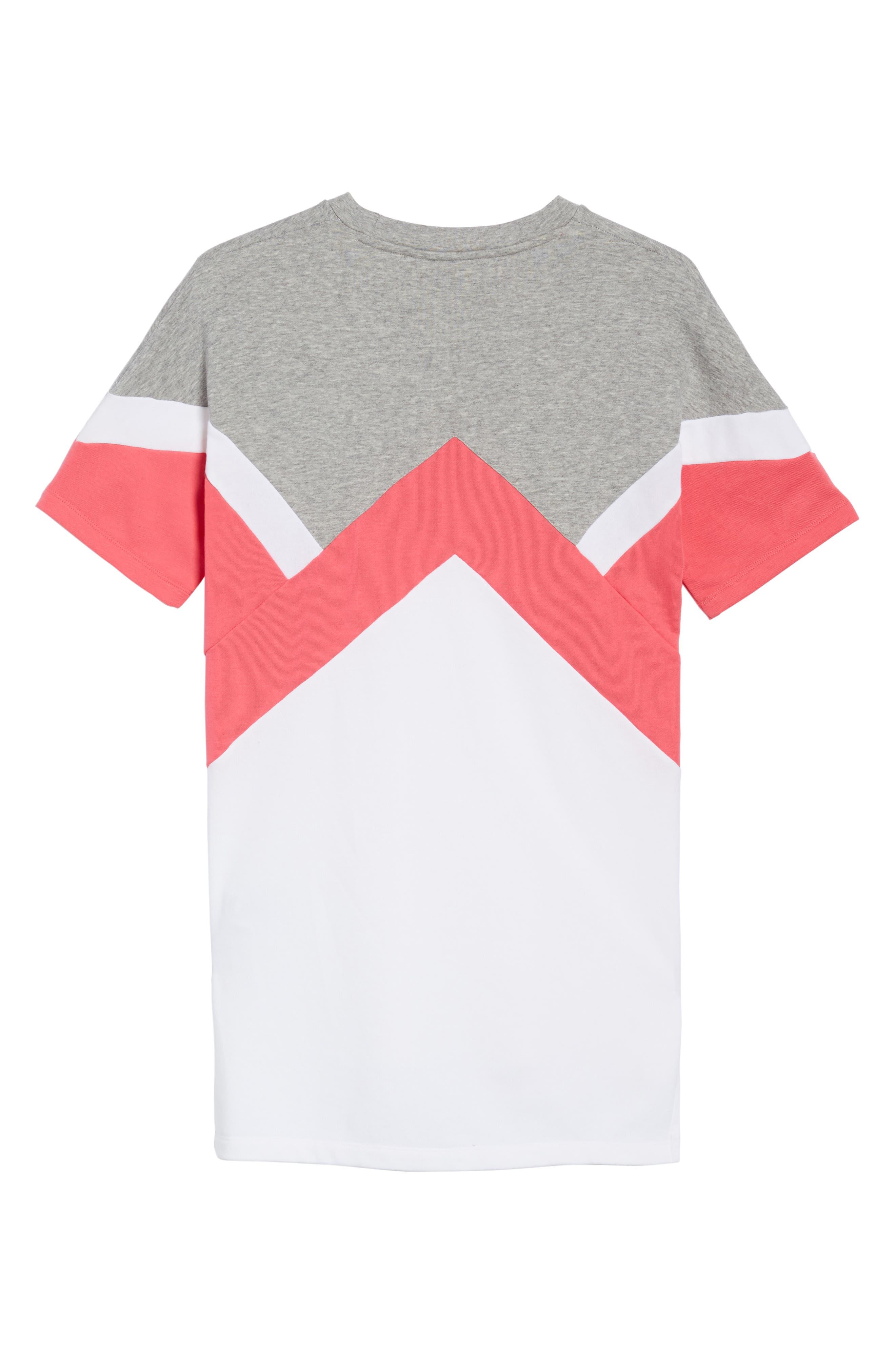 T-Shirt Dress,                             Alternate thumbnail 3, color,                             Grey / Pink/ White