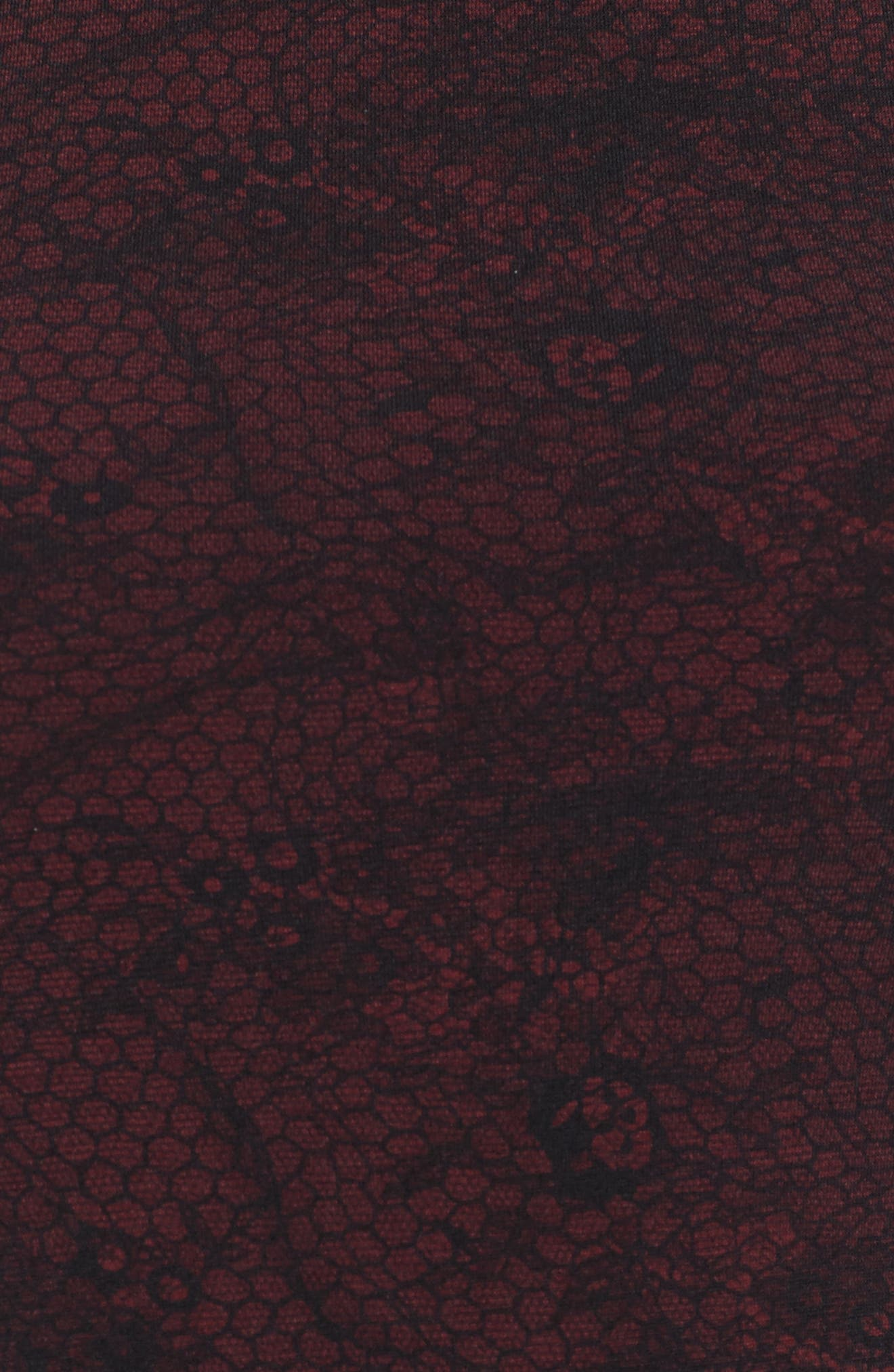 Floral Mesh Dress,                             Alternate thumbnail 5, color,                             Merlot/Black