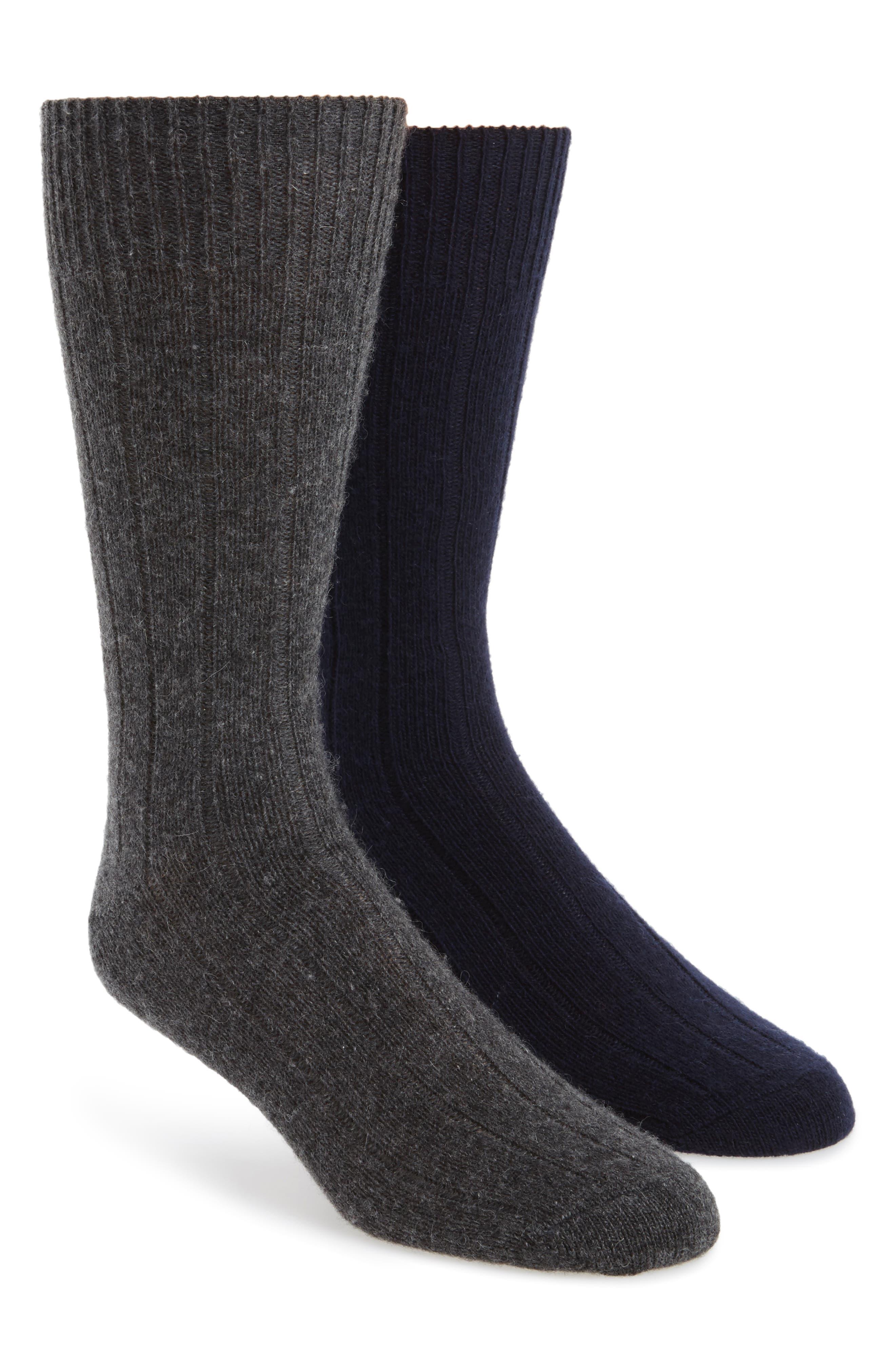 2-Pack Cashmere Blend Socks Box Set,                             Main thumbnail 1, color,                             Navy/ Charcoal