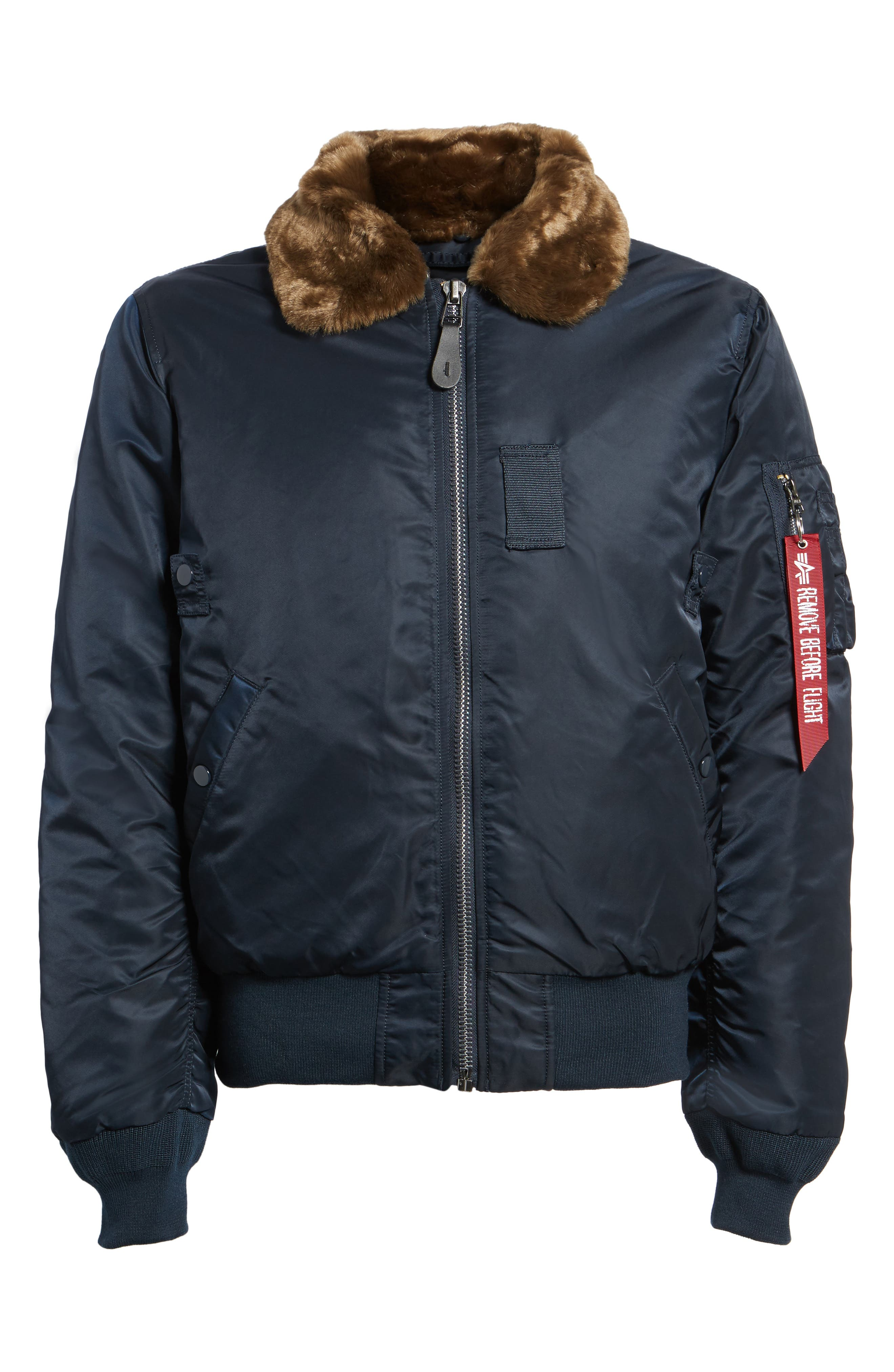 Alternate Image 6  - Alpha Industries B-15 Removable Faux Fur Collar Flight Jacket