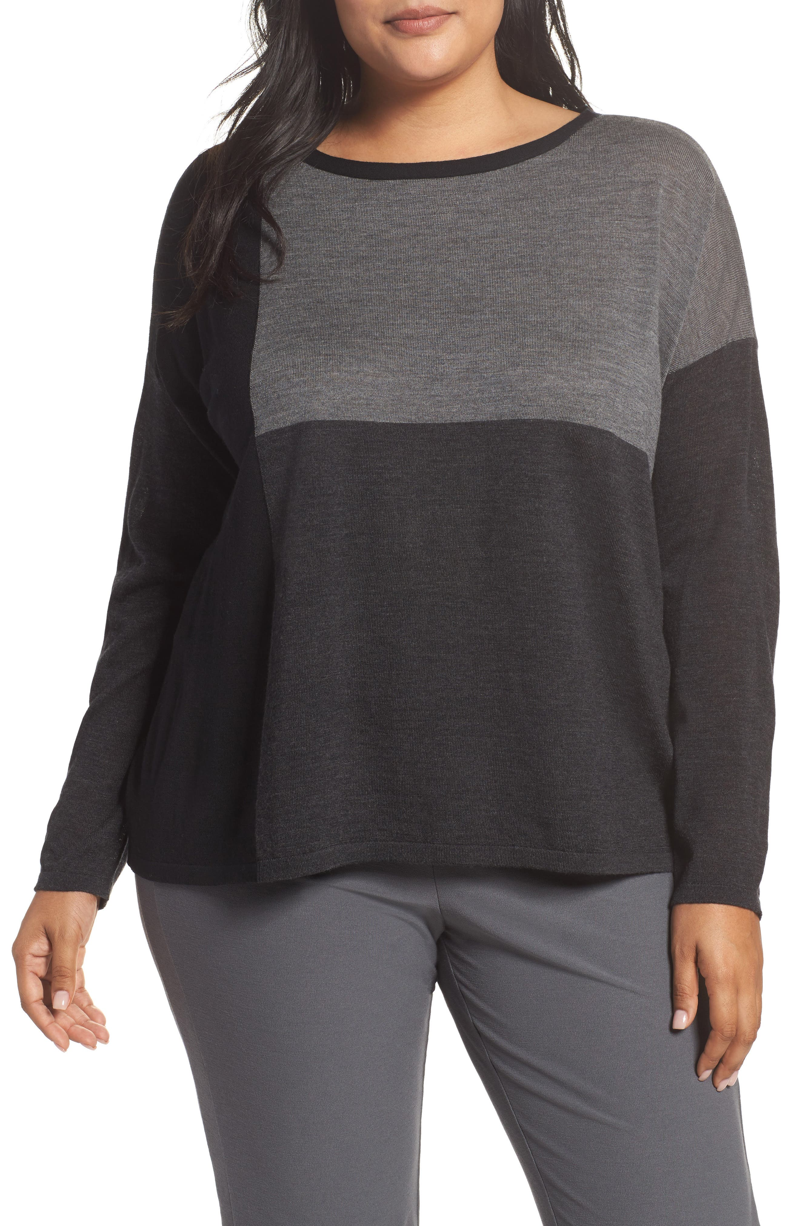 Eileen Fisher Colorblock Boxy Merino Wool Sweater (Plus Size)