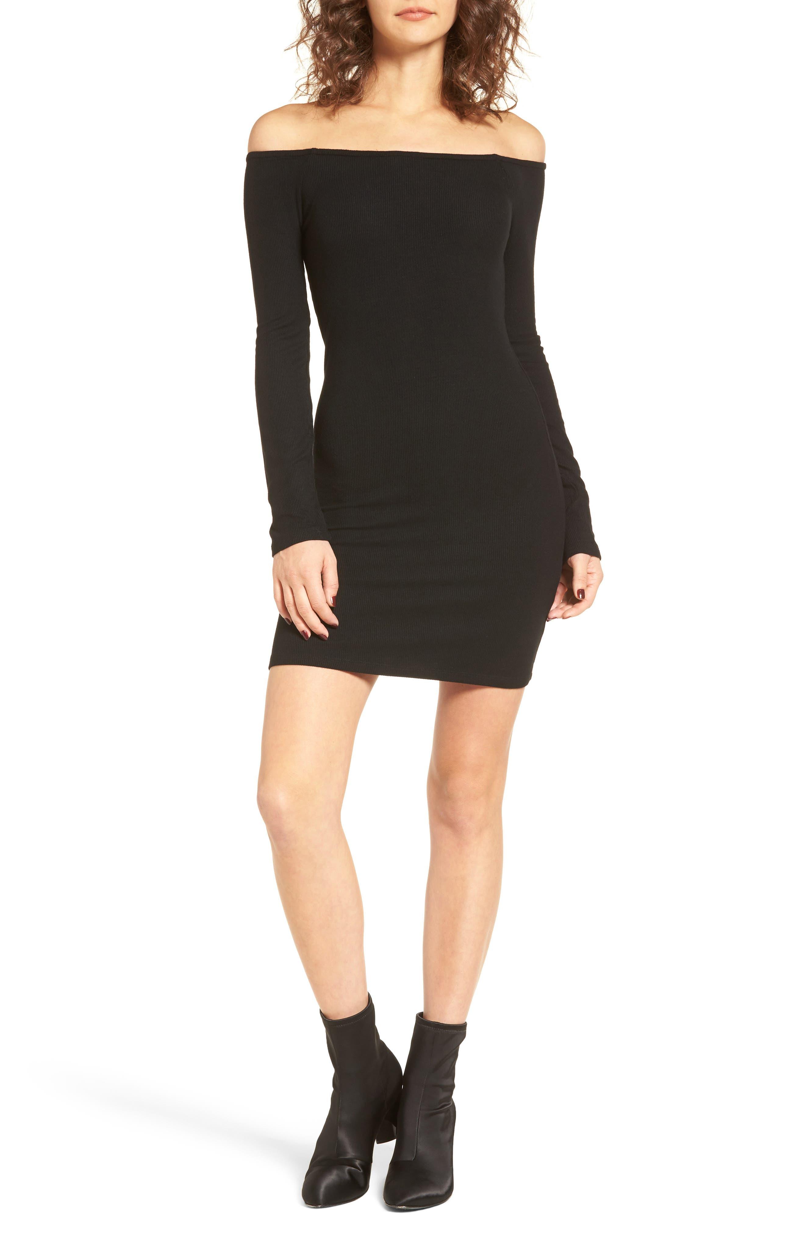 Milo Off the Shoulder Dress,                         Main,                         color, Black