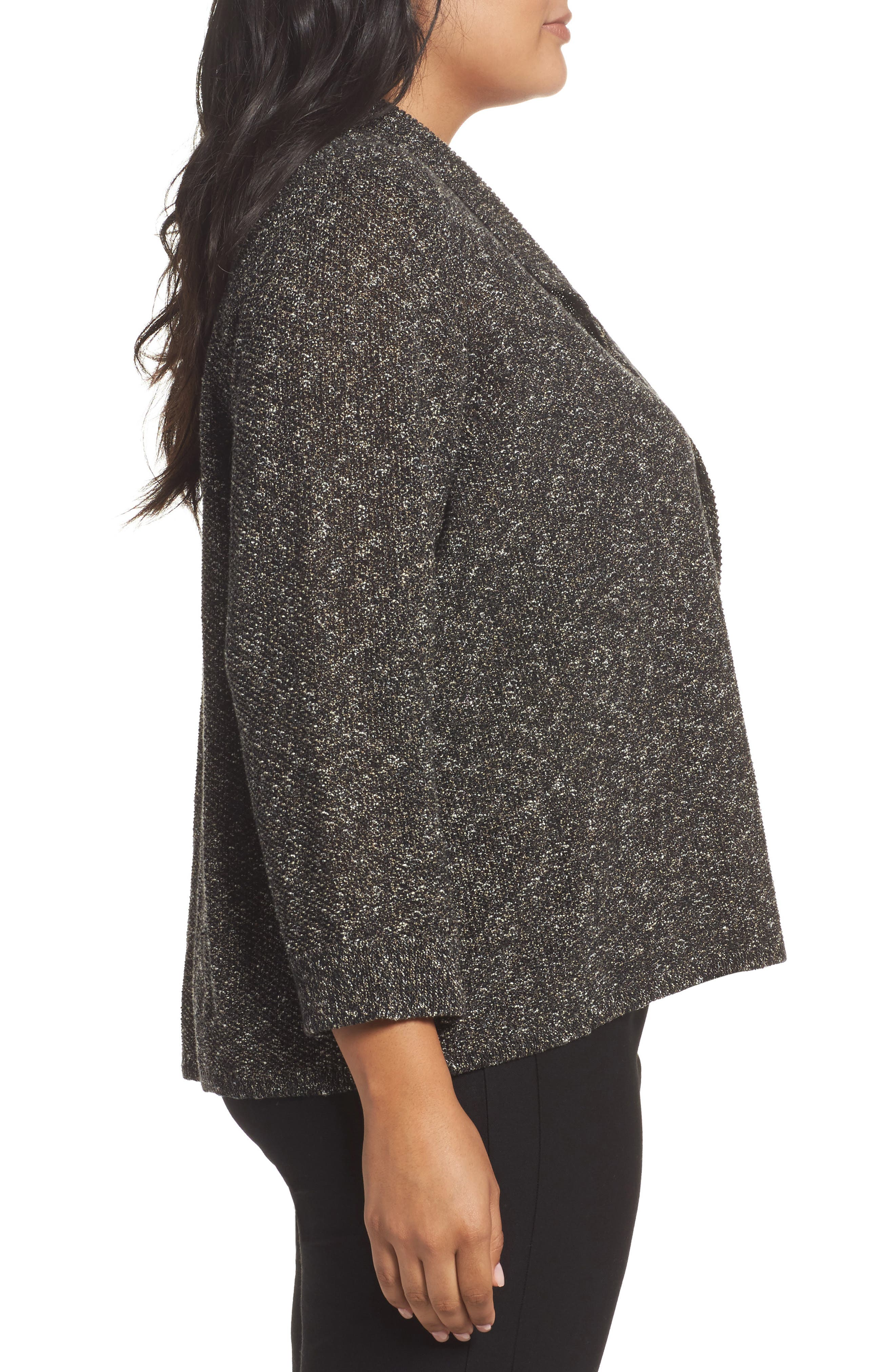 Organic Cotton Blend Sweater Jacket,                             Alternate thumbnail 3, color,                             Black