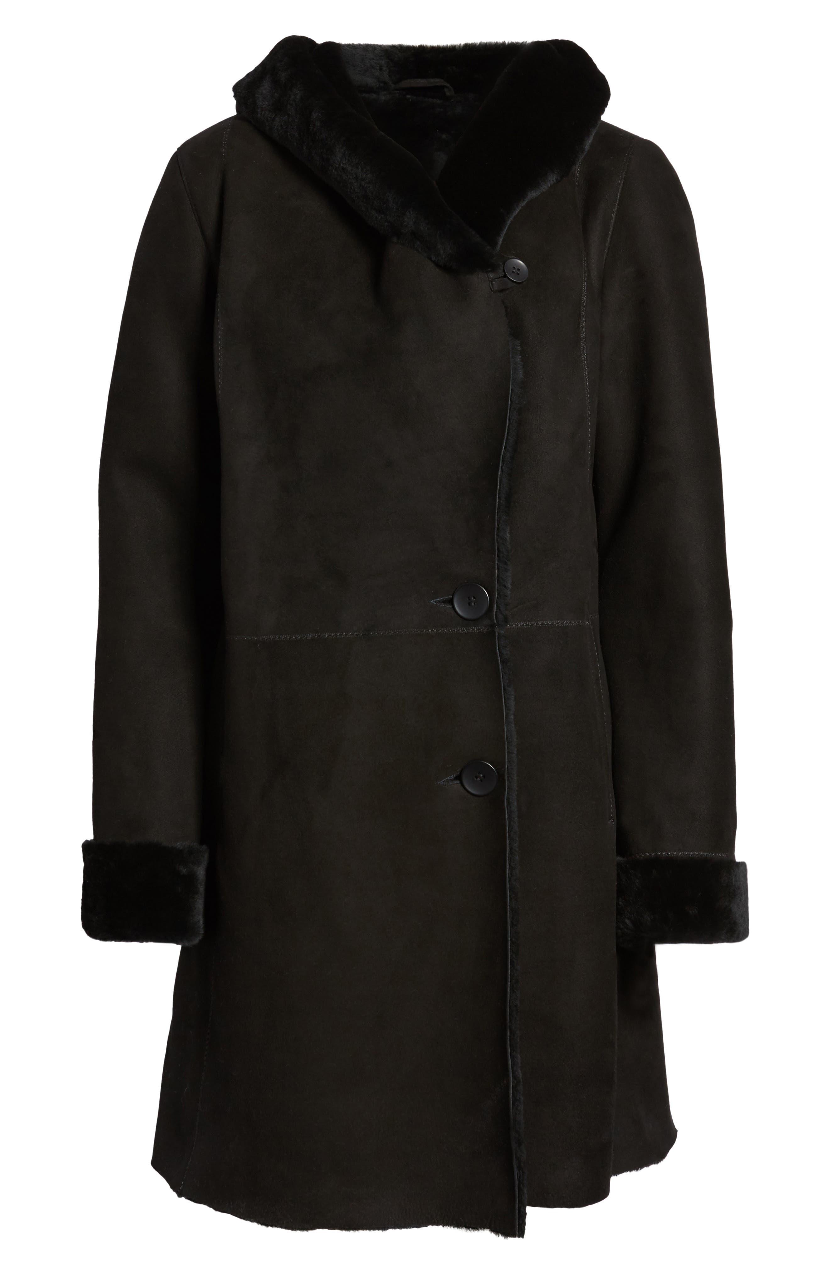 Genuine Shearling Coat,                             Alternate thumbnail 6, color,                             Black