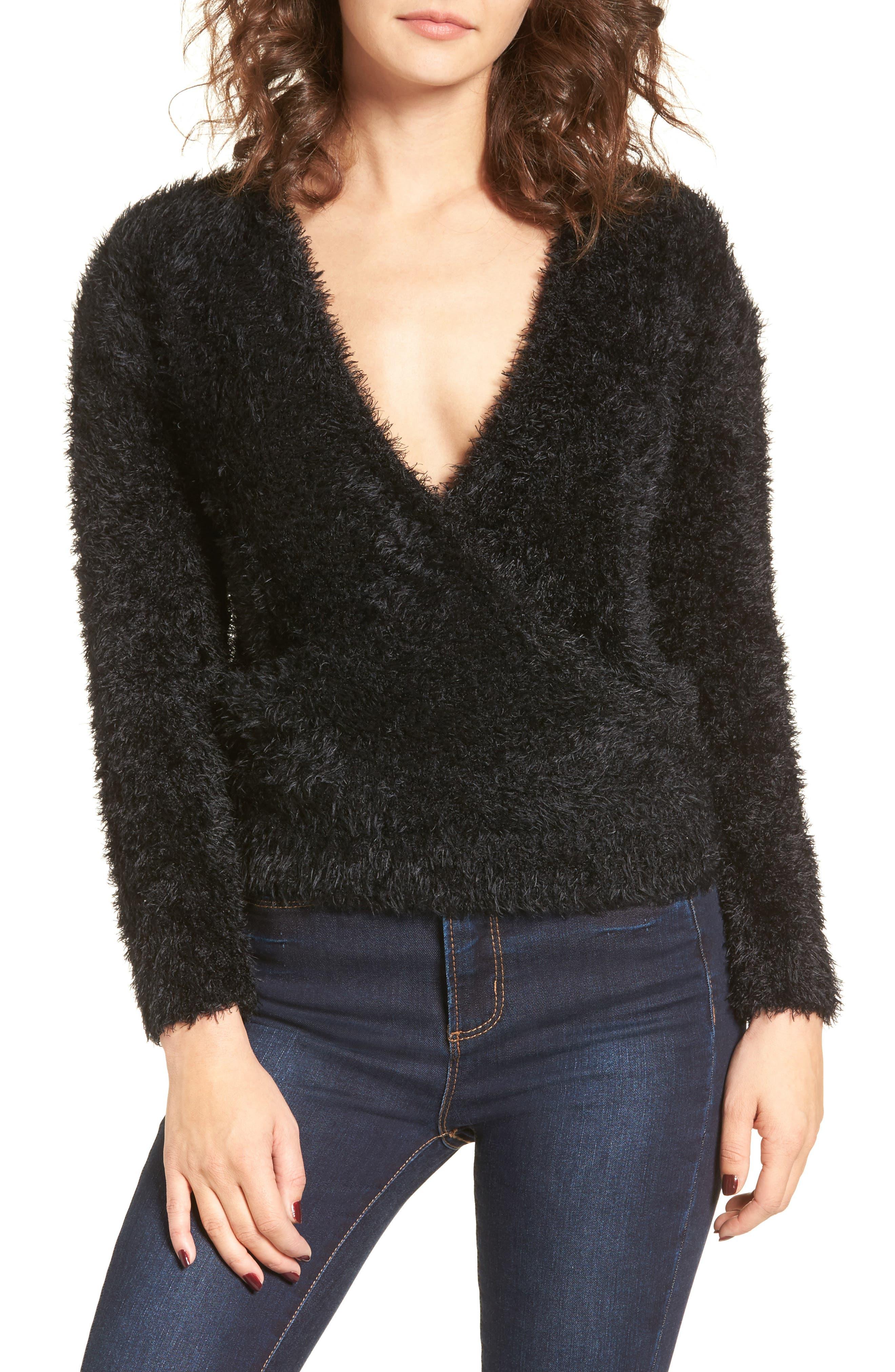 Fuzzy Surplice Sweater,                             Main thumbnail 1, color,                             Black