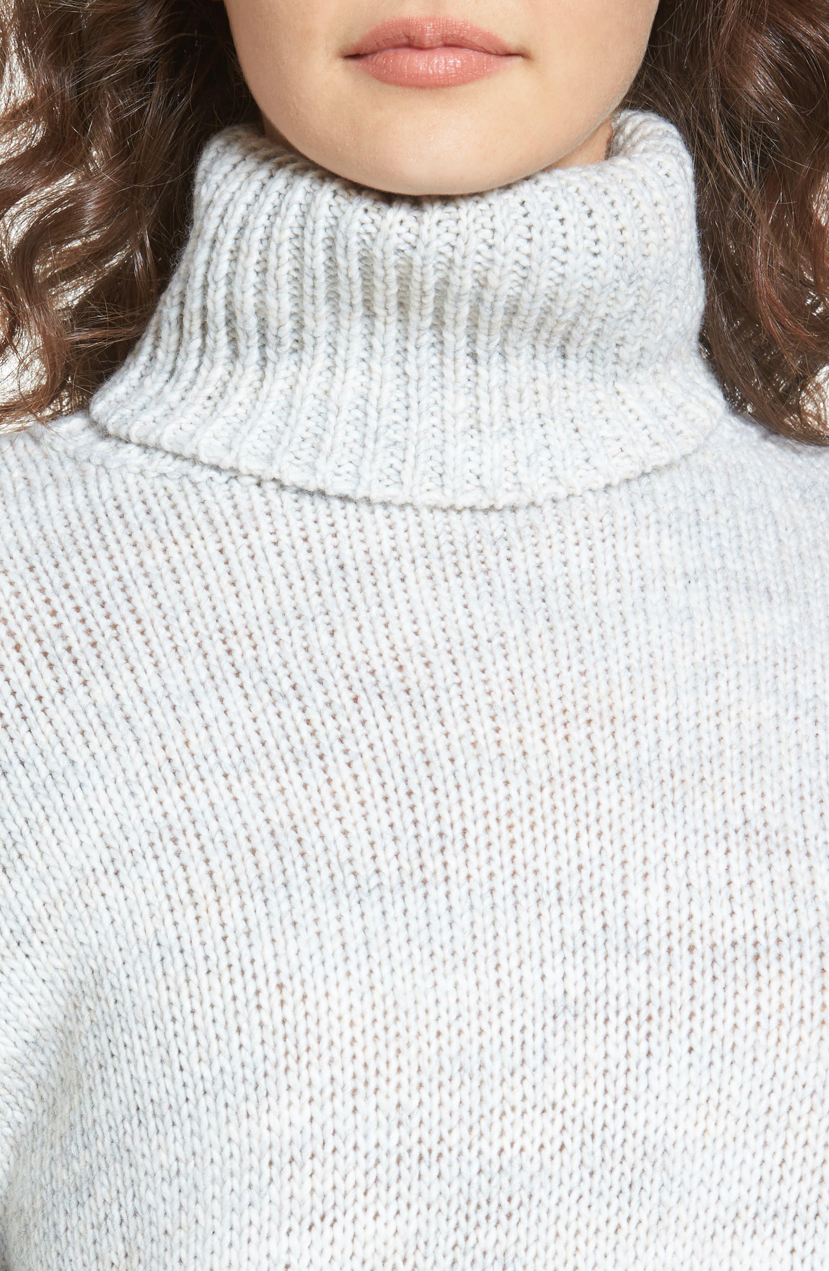 Skelter Turtleneck Sweater,                             Alternate thumbnail 4, color,                             Heather Grey