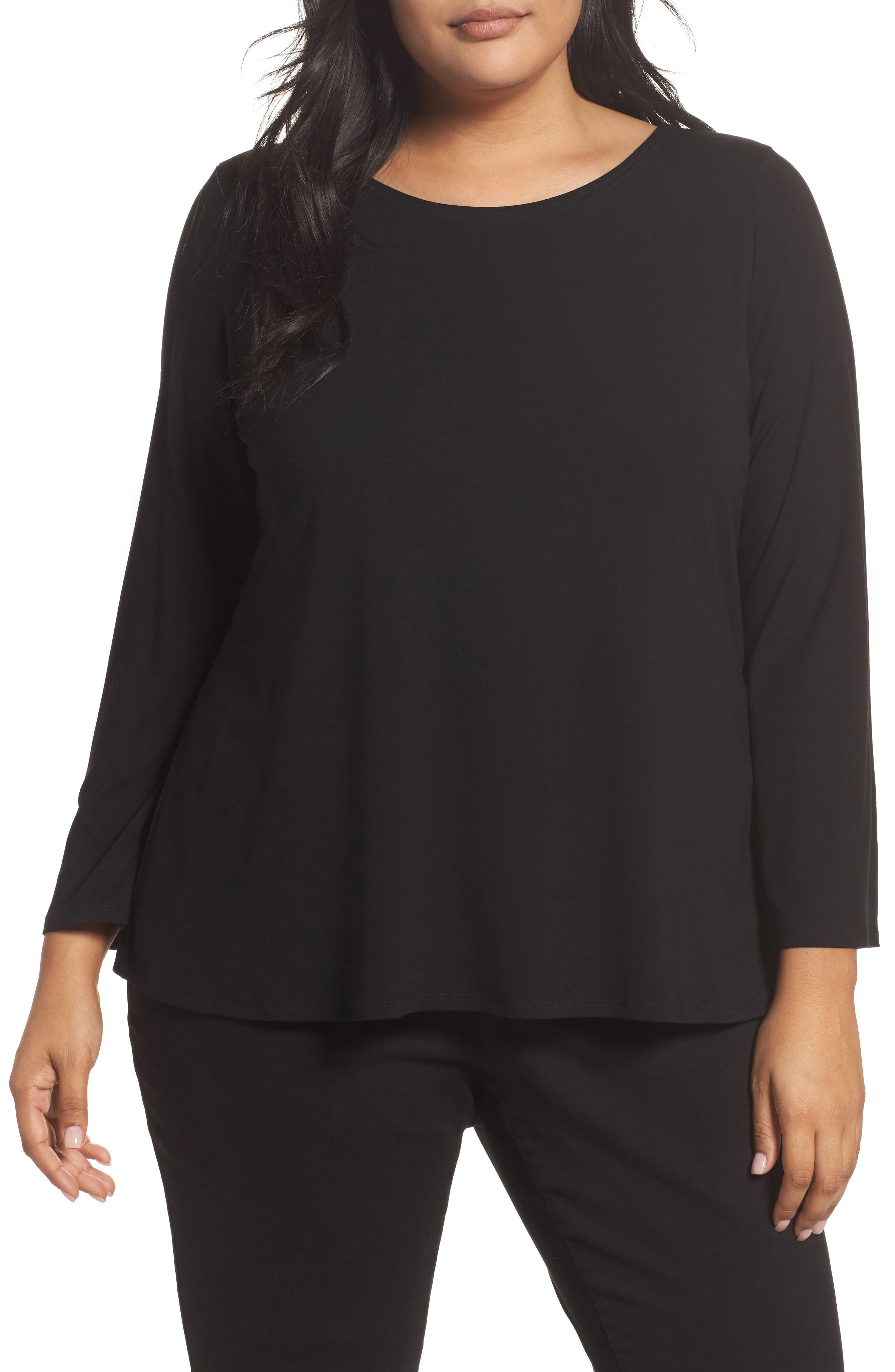 Eileen Fisher Jersey Ballet Neck Top (Plus Size)