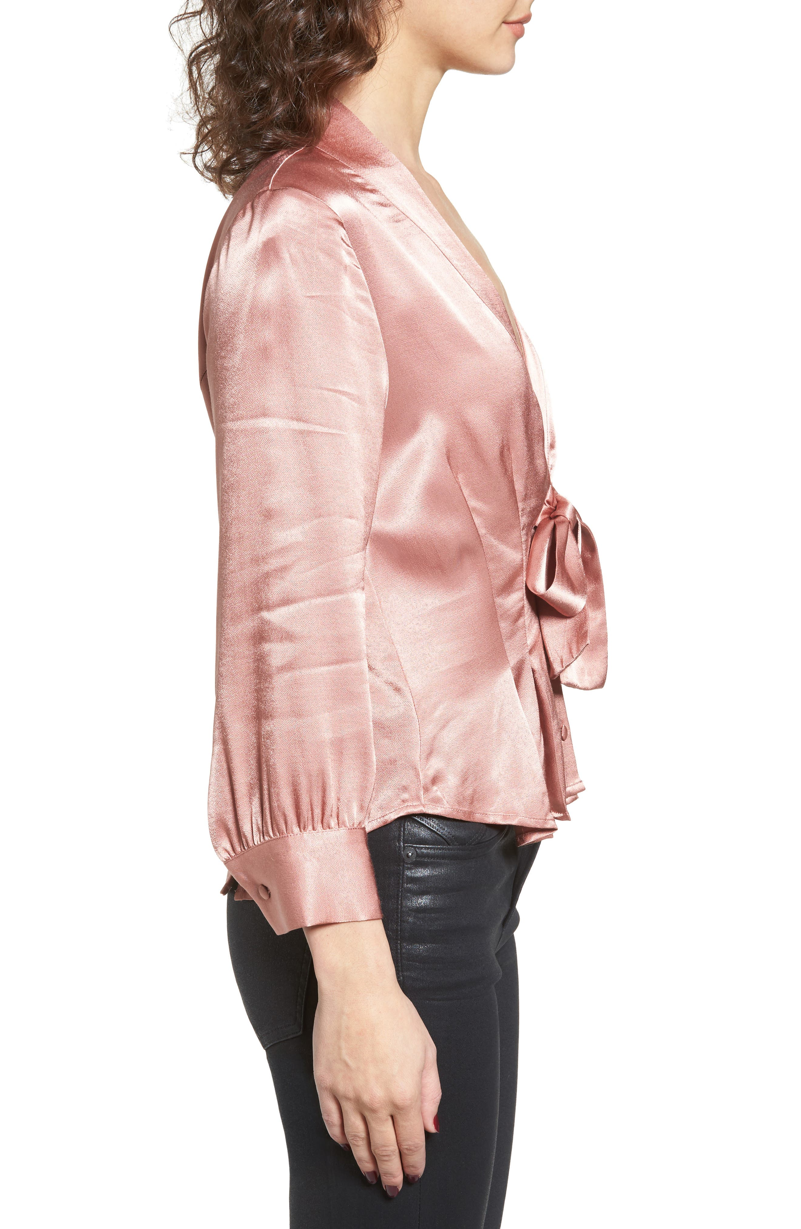 Errol Bow Blouse,                             Alternate thumbnail 3, color,                             Dusty Rose