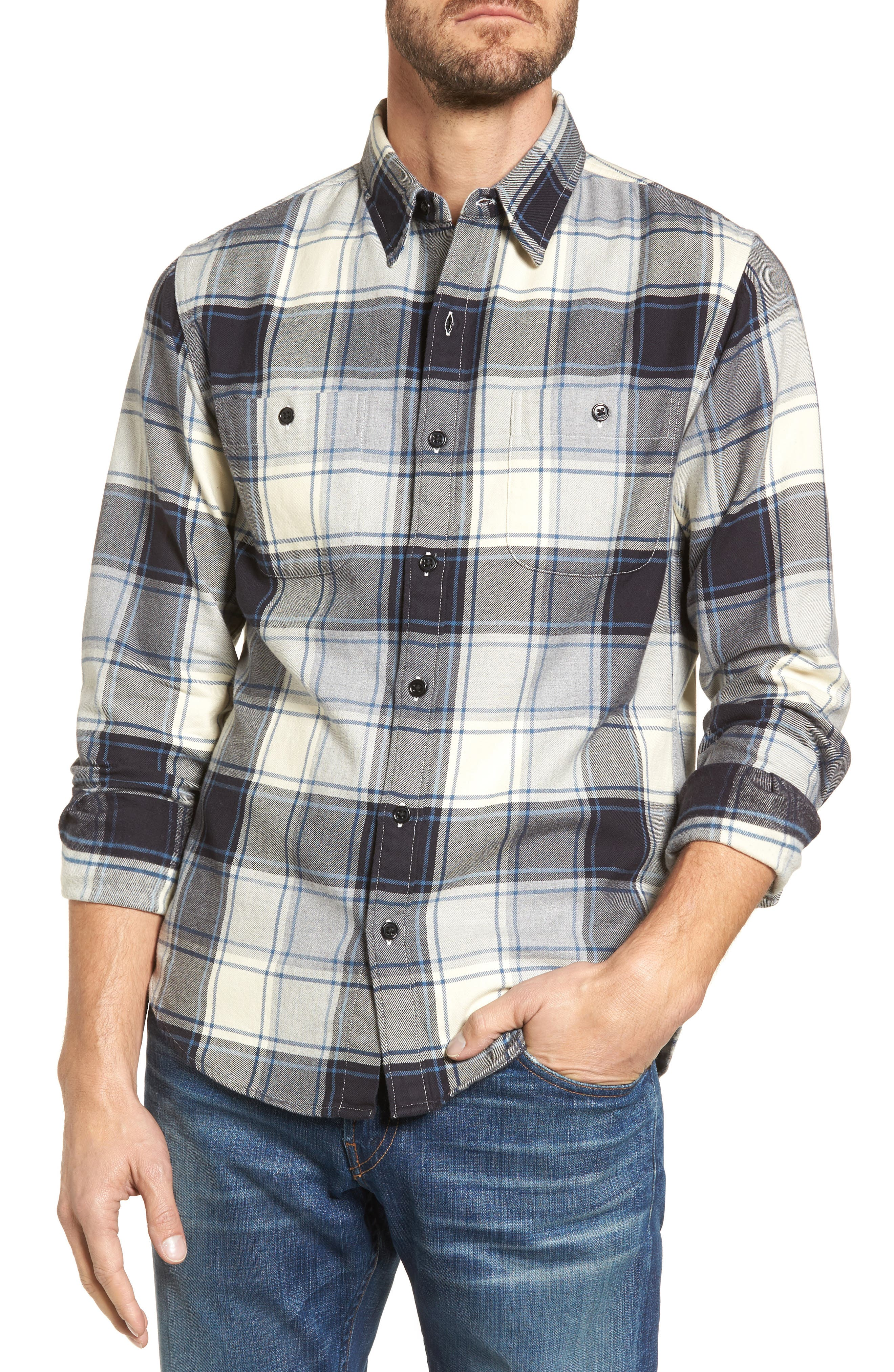 Slim Fit Plaid Flannel Shirt,                             Main thumbnail 1, color,                             House Flannel/ Real Teal