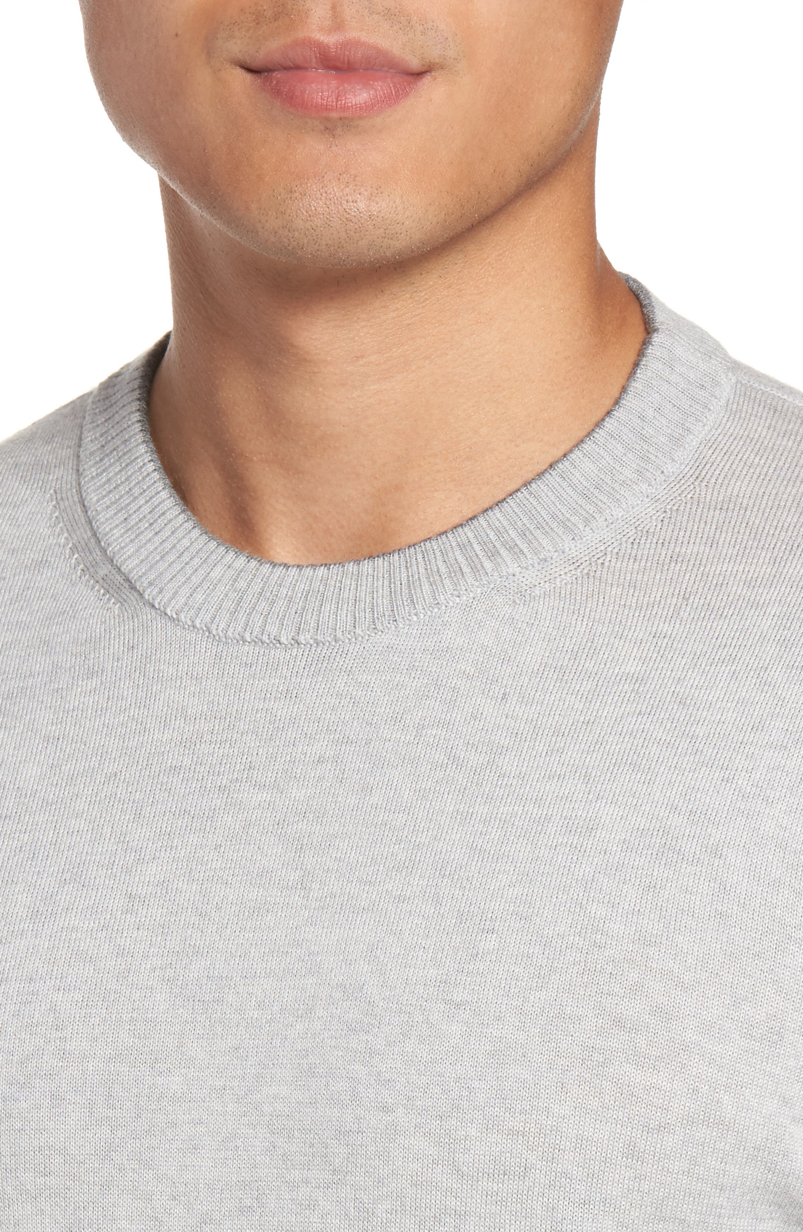 Virgin Wool Crewneck Sweater,                             Alternate thumbnail 4, color,                             Light Grey